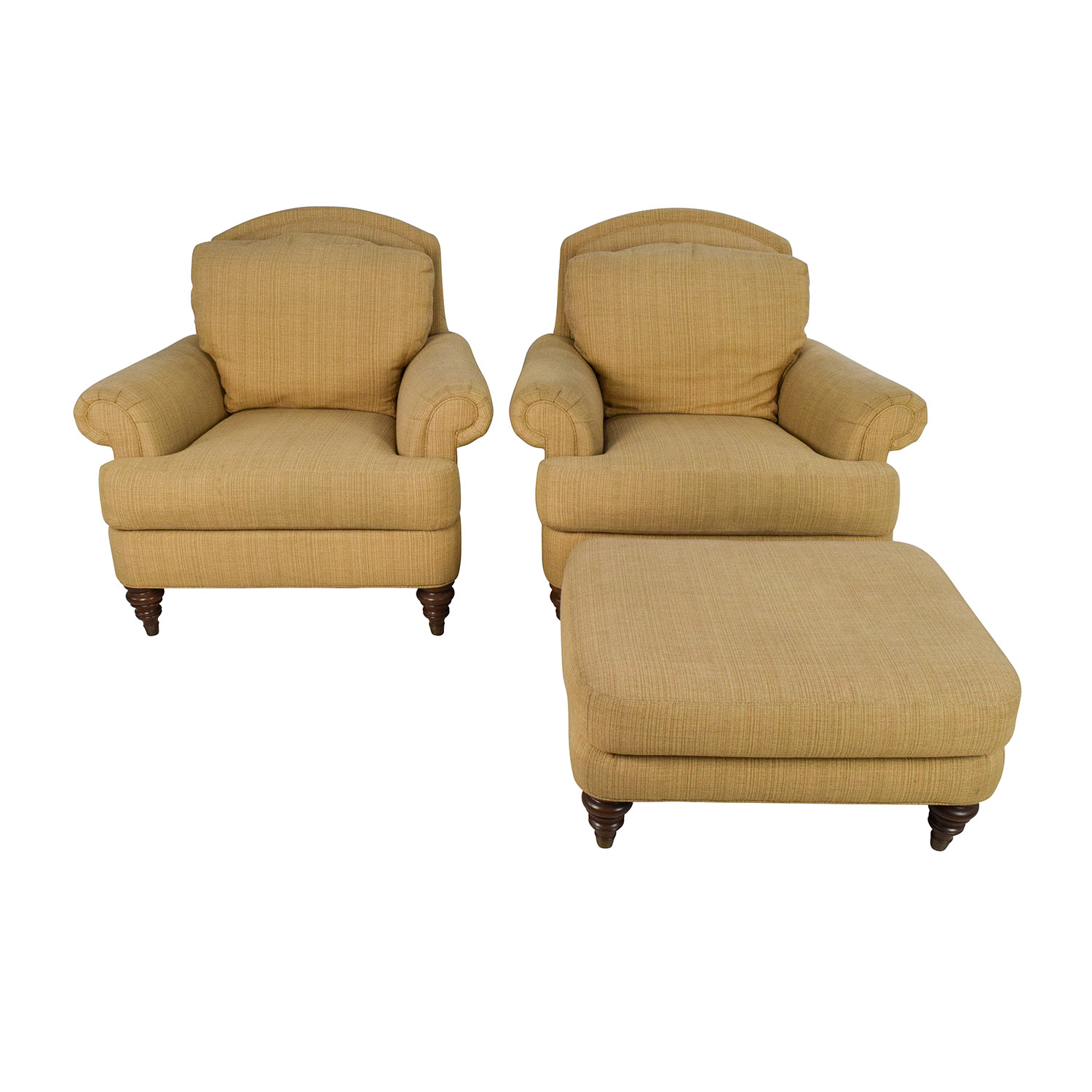 shop Ethan Allen Ethan Allen Hyde Chair Pair and Single Ottoman online