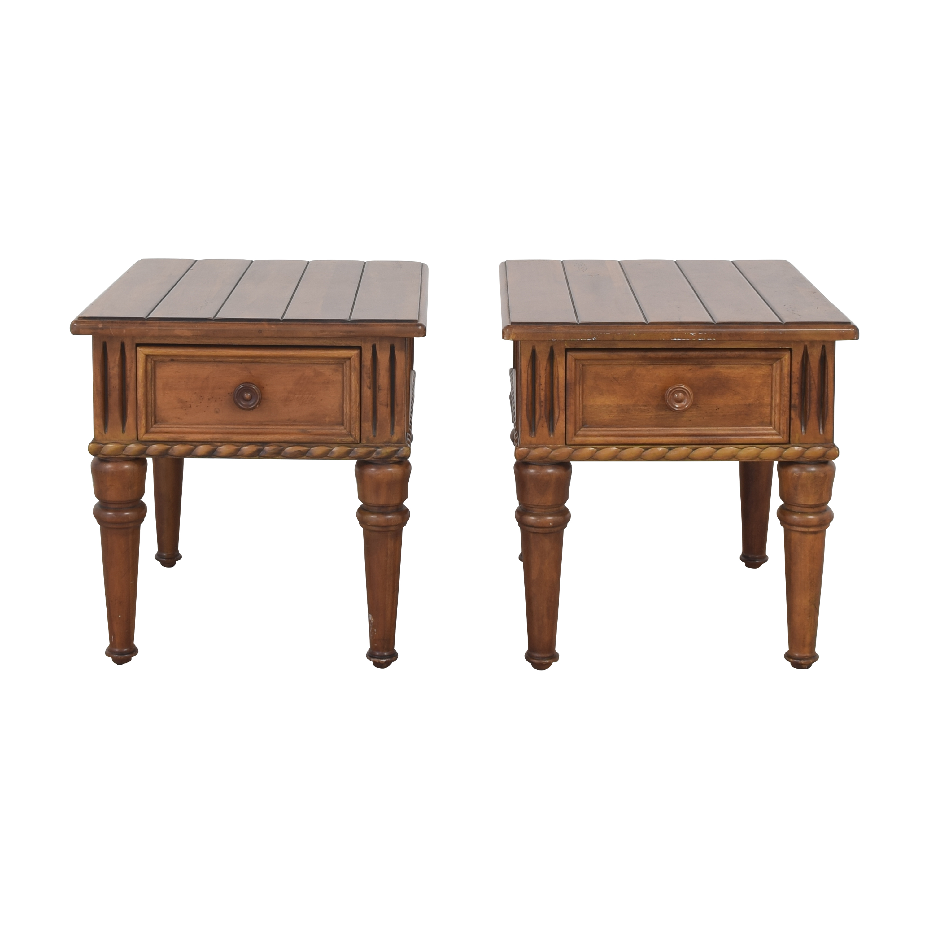 Thomasville Ernest Hemingway Collection Single Drawer Carved Wood End Tables sale