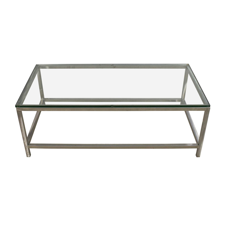 64% OFF   Crate U0026 Barrel Crate U0026 Barrel Era Rectangular Glass Top Coffee  Table / Tables
