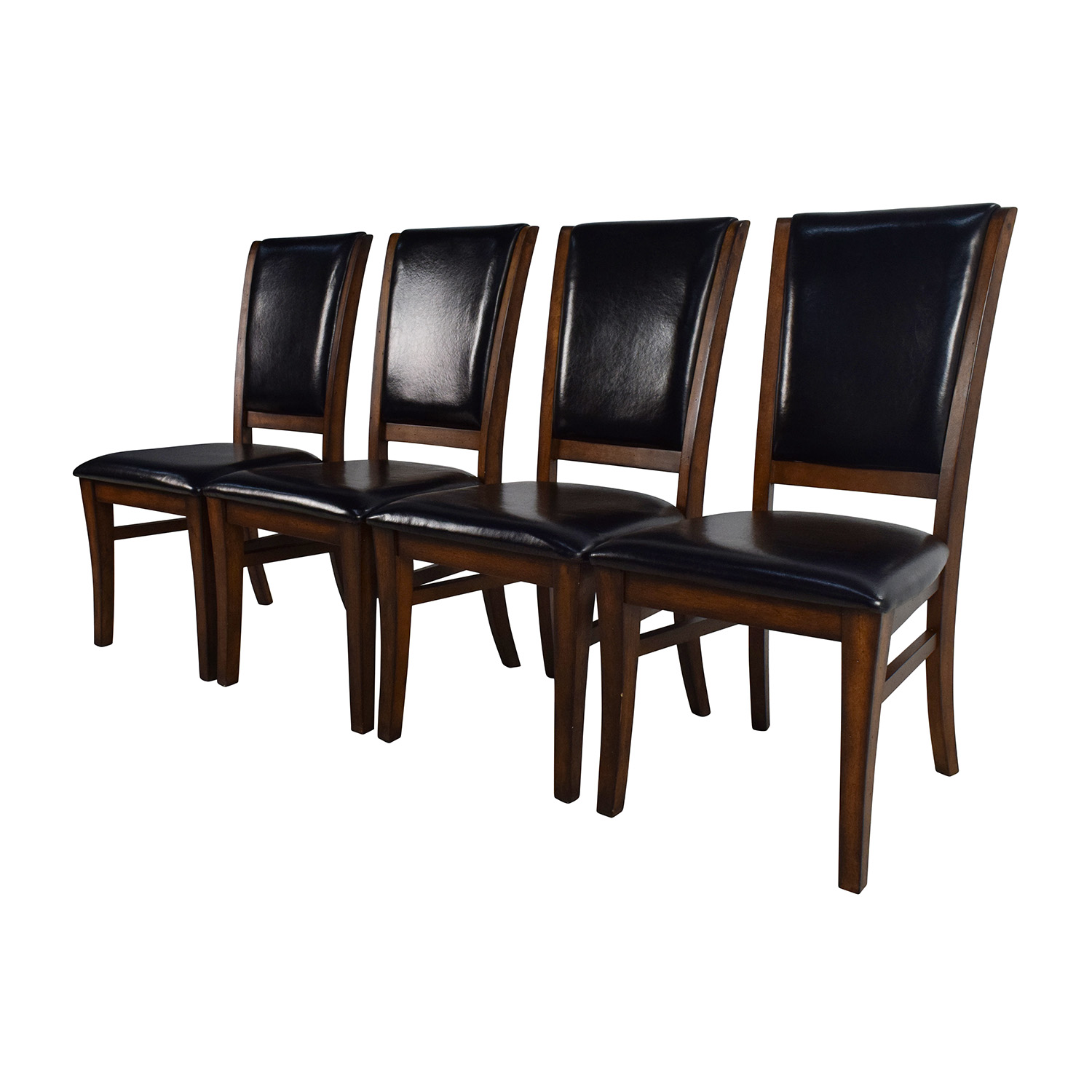 World Market Leather And Wood Dining Chairs