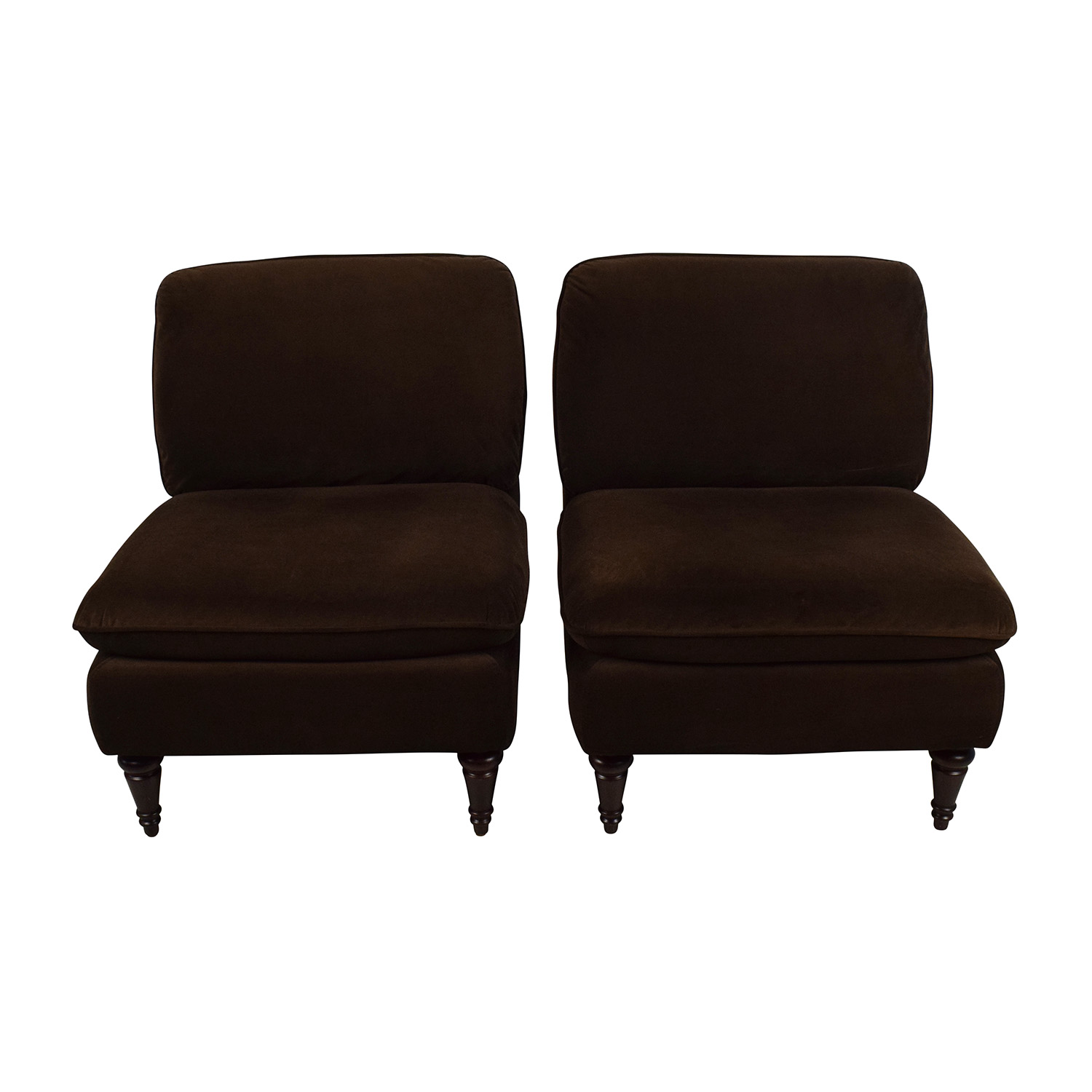 World Market Pair of Brown Velvet Chairs World Market