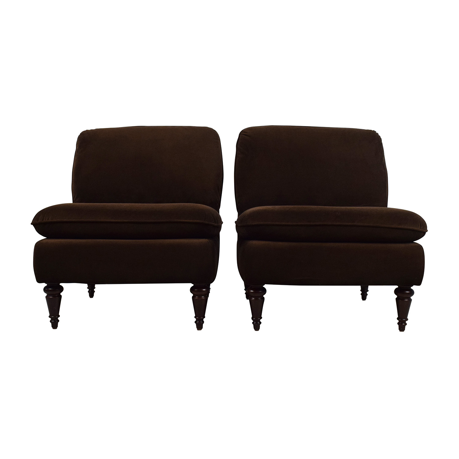 World Market World Market Pair of Brown Velvet Chairs Brown