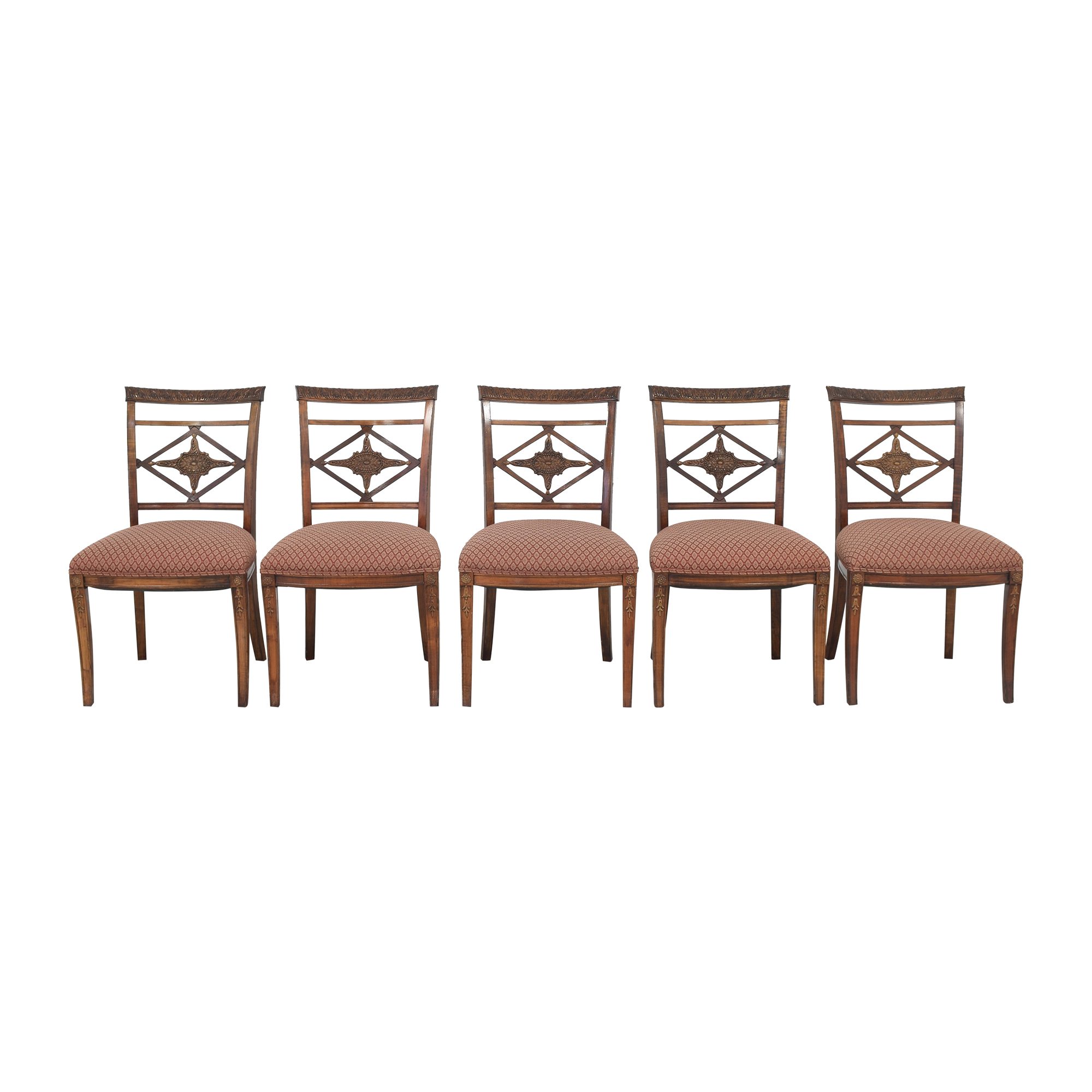 Vintage Style Carved Back Dining Chairs brown & red