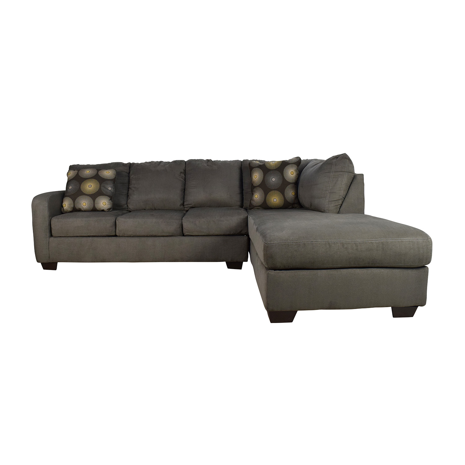 52% OFF Black Leather Tufted Sectional Sofa and Ottoman Sofas
