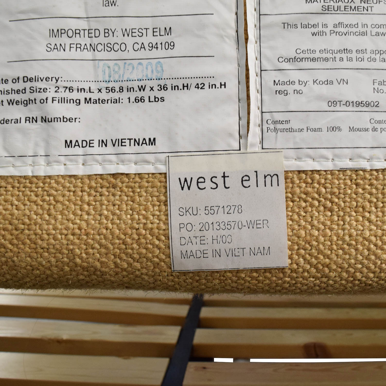 79% OFF - West Elm West Elm Full Size Bed with Nailhead Studded ...