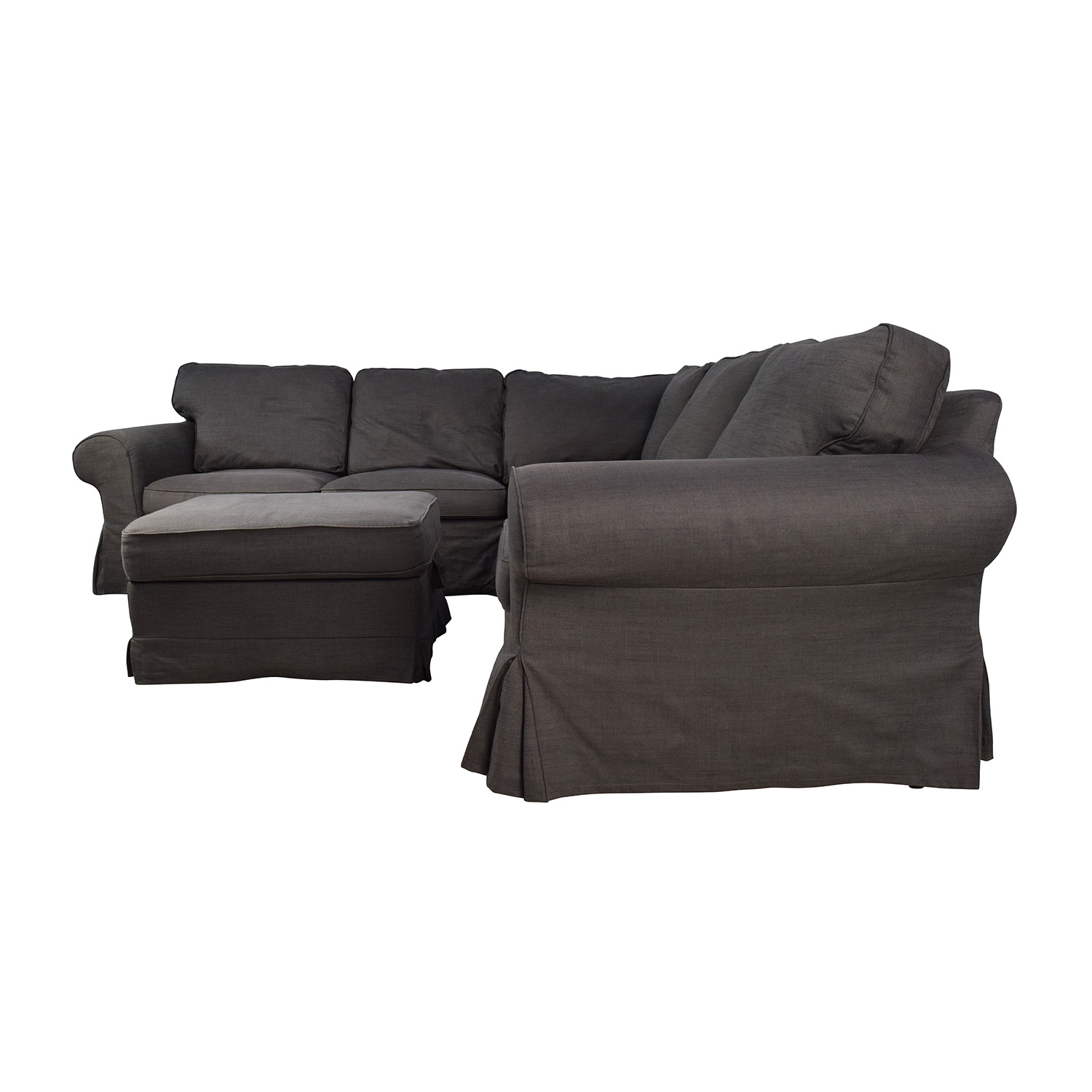 shop IKEA EKTORP Gray Corner Sectional with Ottoman IKEA Sectionals