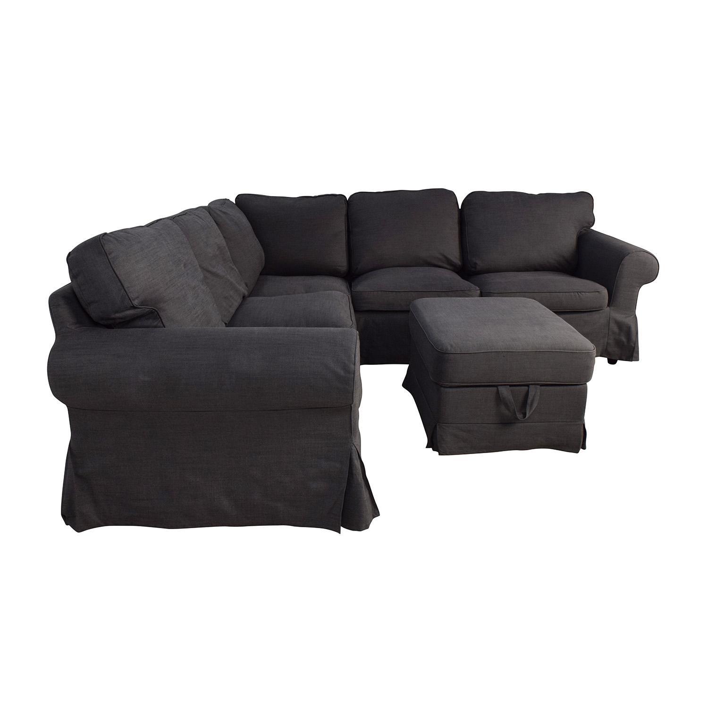 ikea ektorp gray corner sectional with ottoman sofas