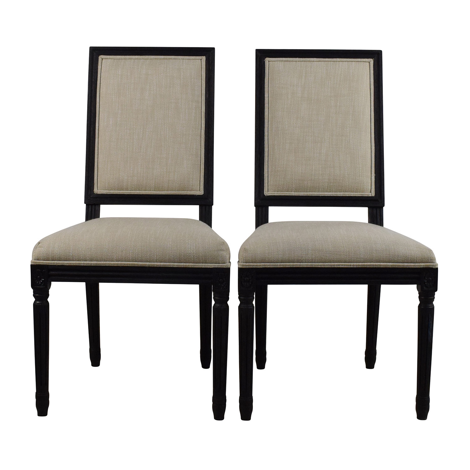 Restoration Hardware Pair Of Vintage French Square Fabric Chairs Dimensions