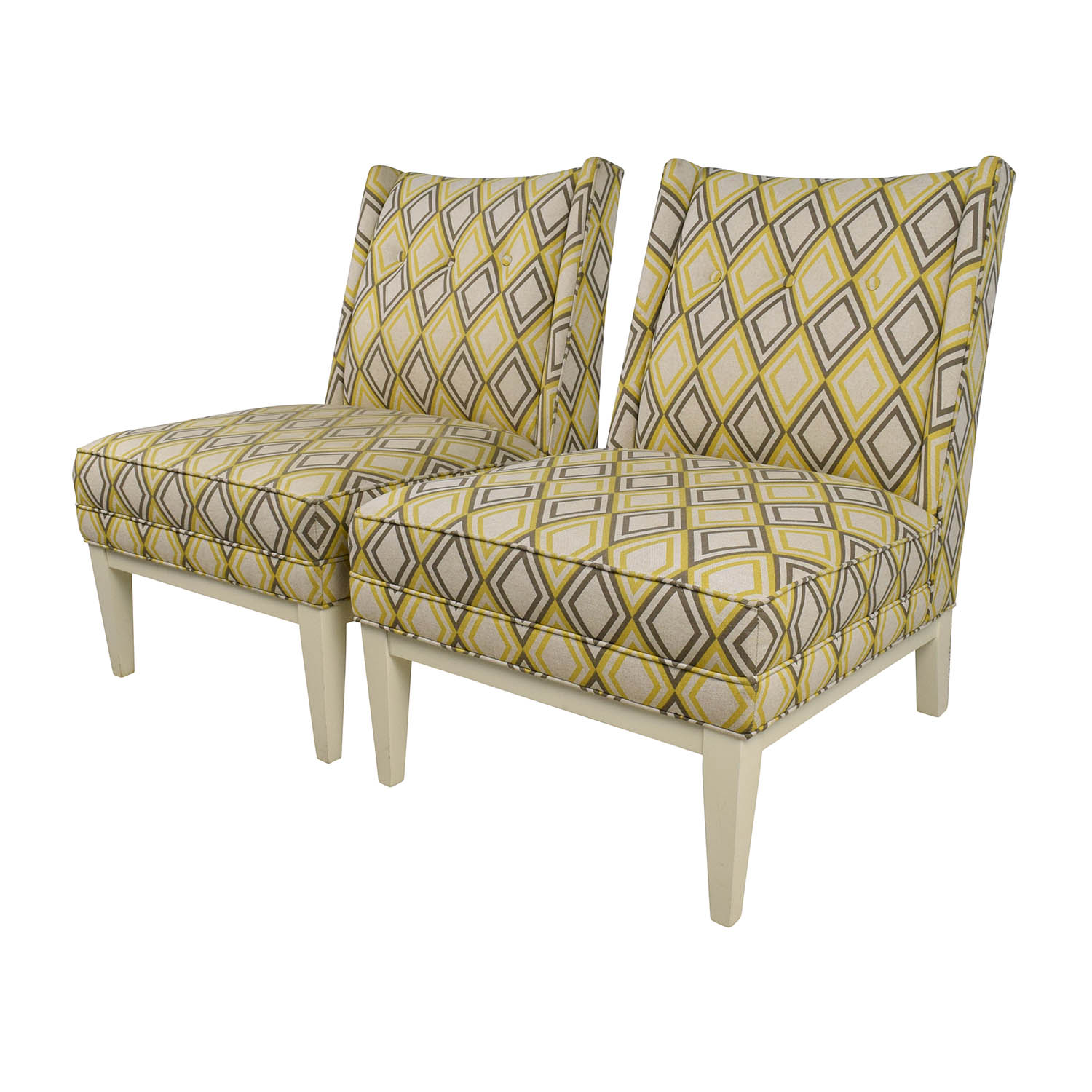 Strange 84 Off Jonathan Adler Jonathan Adler Morrow Yellow And Gray Chair Pair Chairs Machost Co Dining Chair Design Ideas Machostcouk