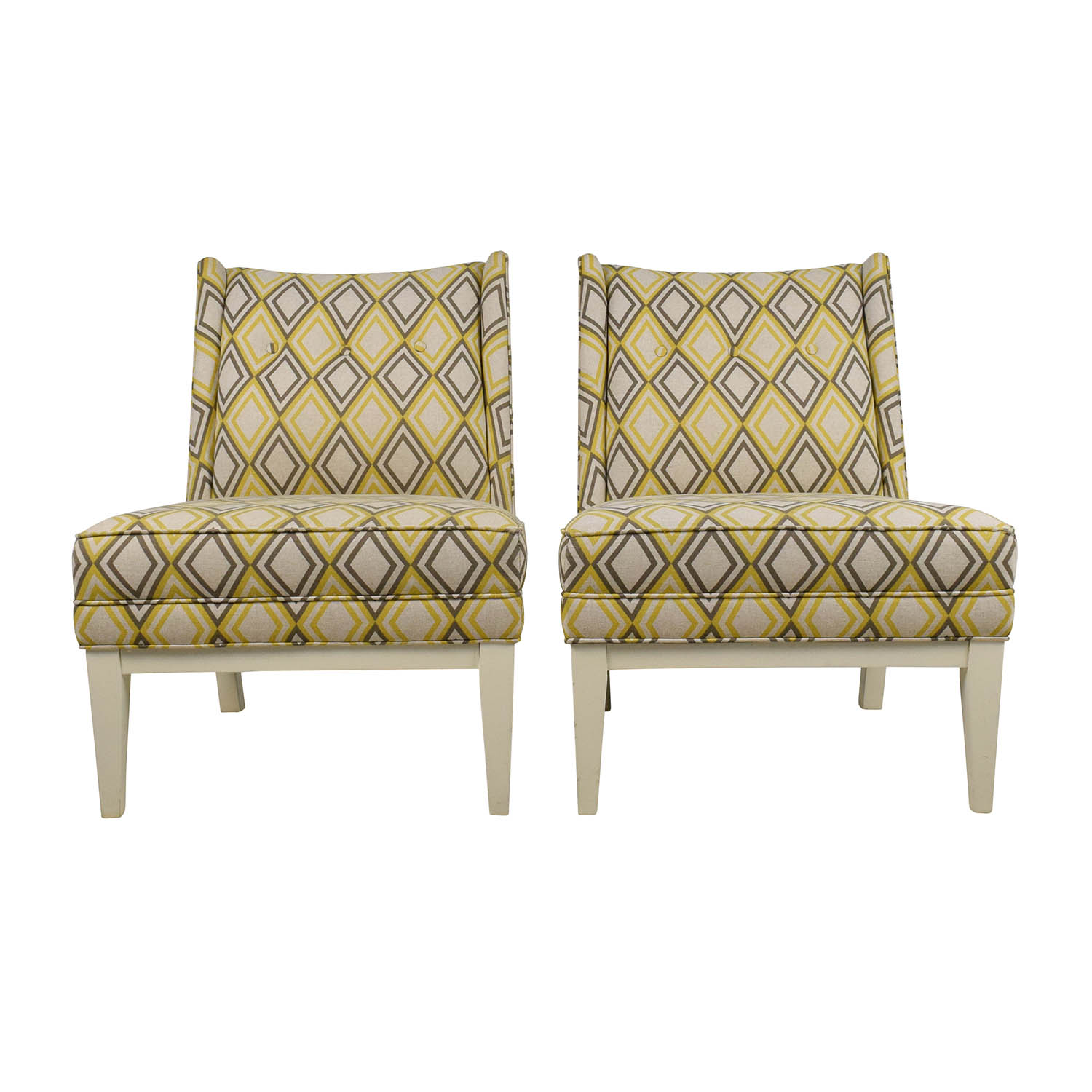 Super 84 Off Jonathan Adler Jonathan Adler Morrow Yellow And Gray Chair Pair Chairs Machost Co Dining Chair Design Ideas Machostcouk