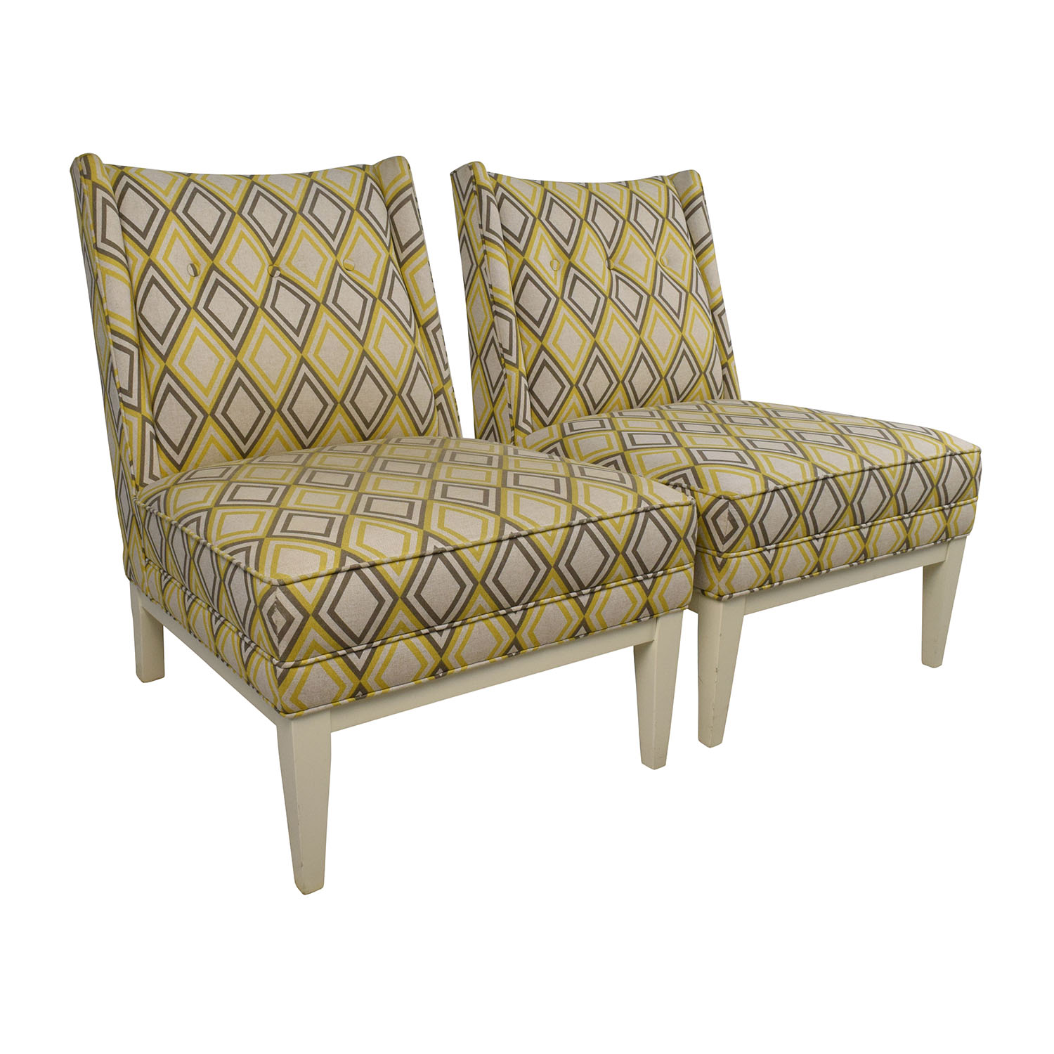 Admirable 84 Off Jonathan Adler Jonathan Adler Morrow Yellow And Gray Chair Pair Chairs Machost Co Dining Chair Design Ideas Machostcouk