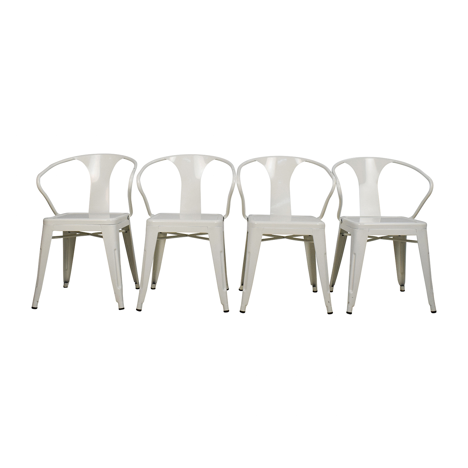 Overstock Overstock Set of Four White European Chairs nj