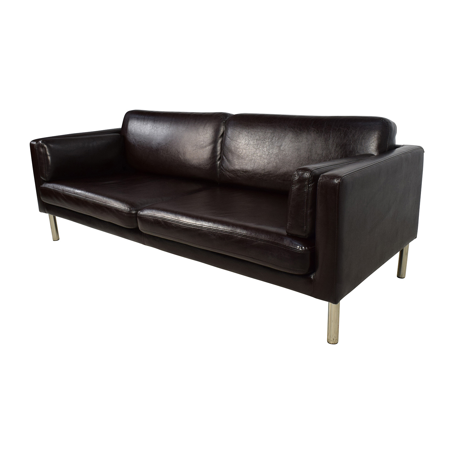 76% OFF Brown Leather Sofa with Chrome Legs Sofas
