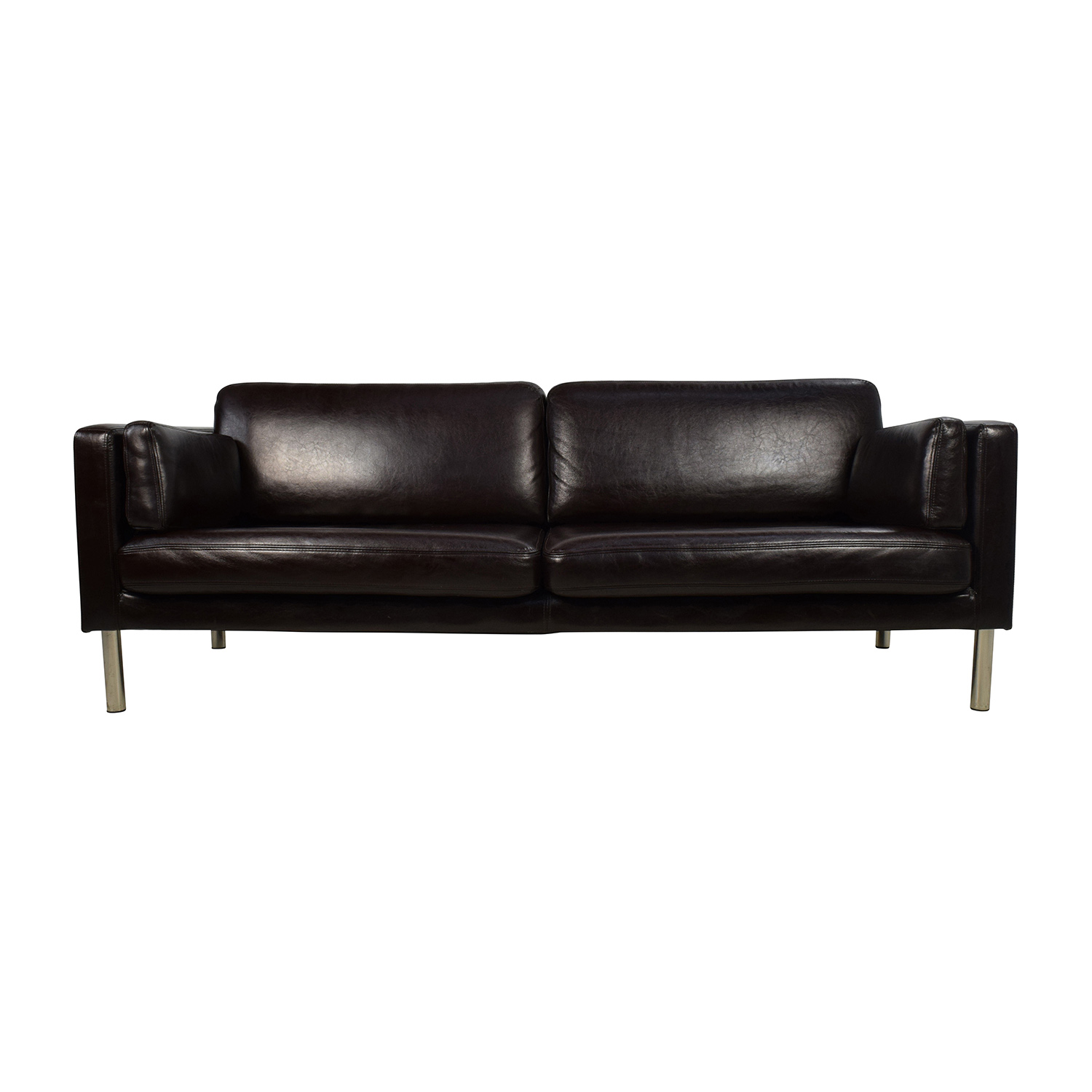 76% OFF - Brown Leather Sofa with Chrome Legs / Sofas