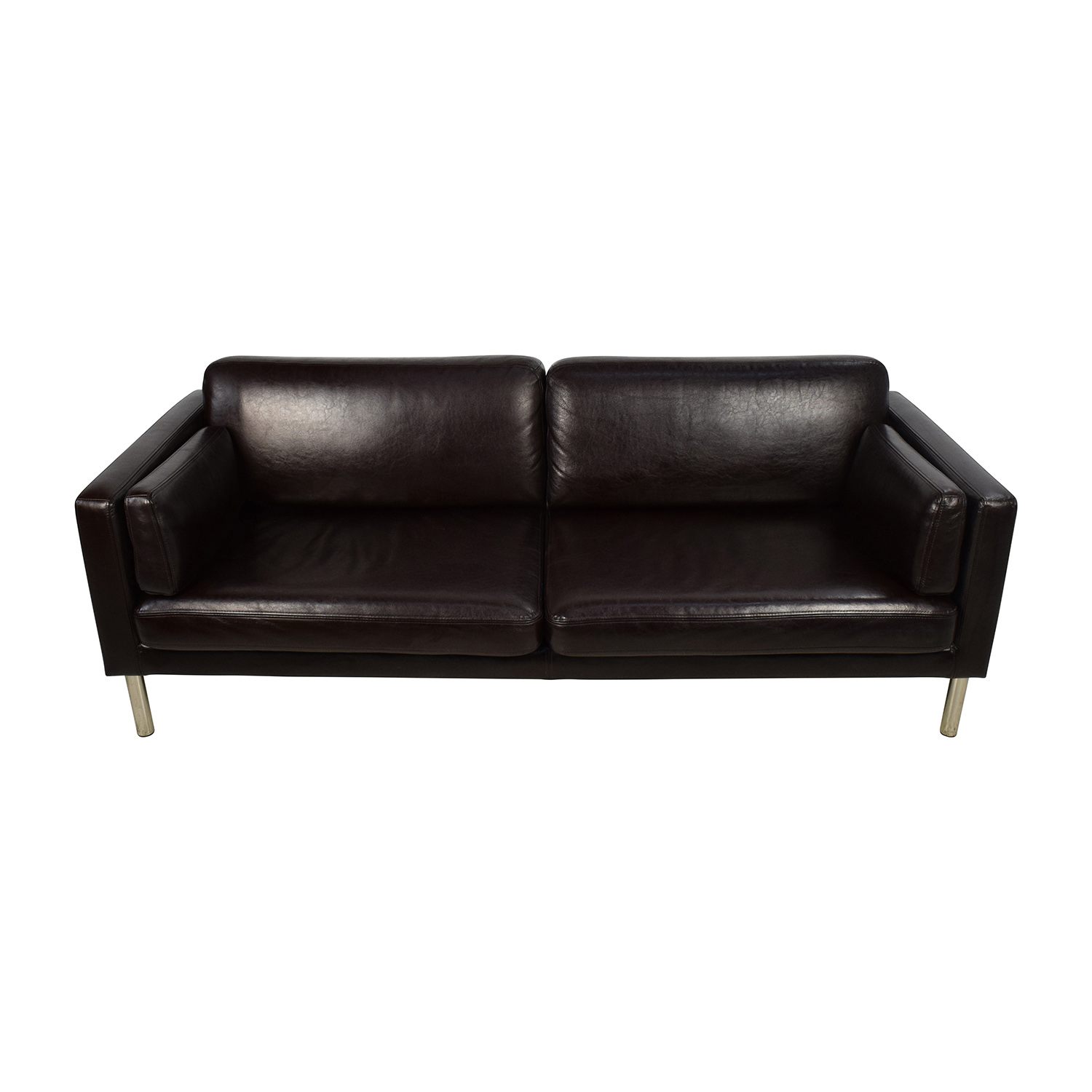 76 Off Brown Leather Sofa With Chrome Legs Sofas