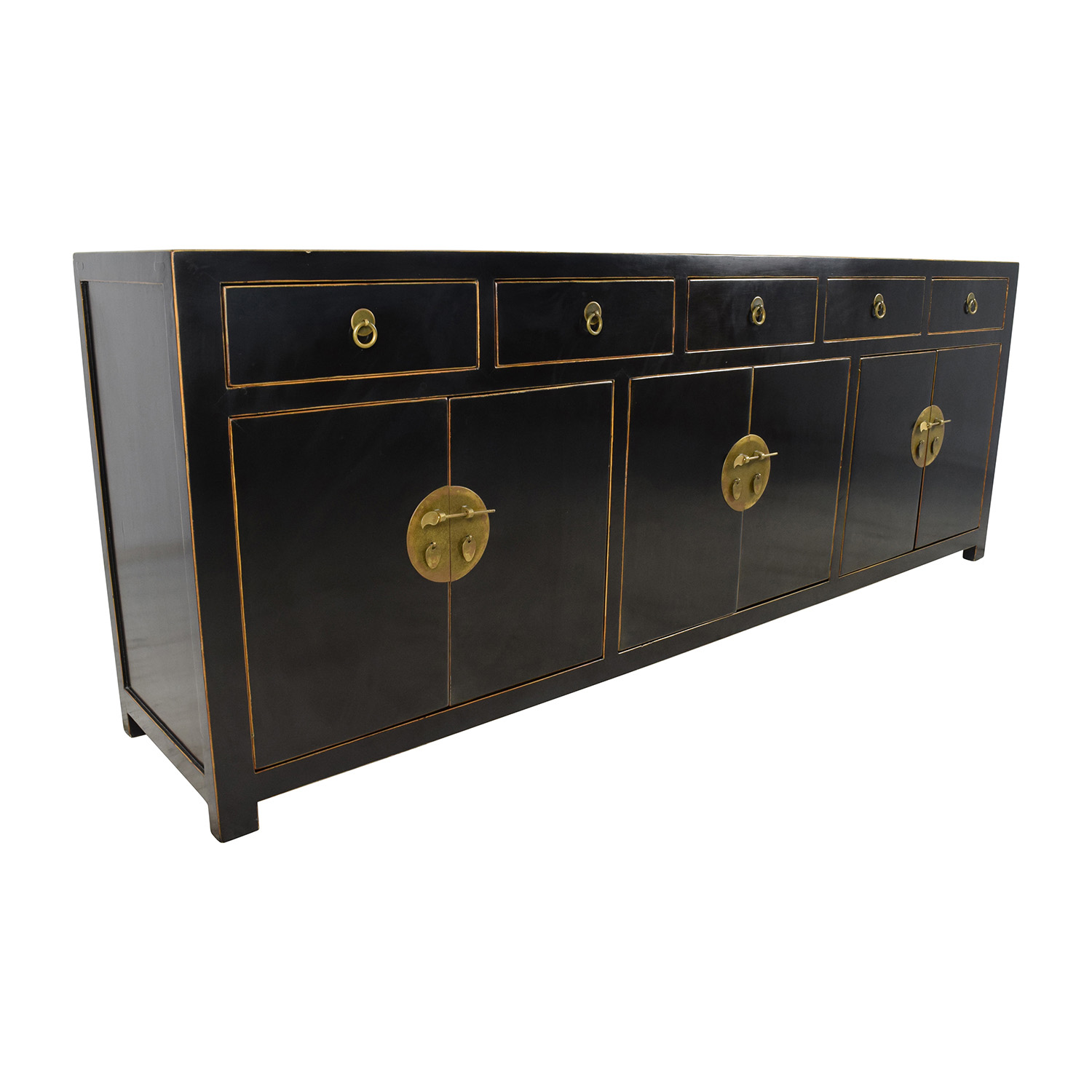 85% OFF Custom Made Black Drawer and Cabinet Sideboard Storage