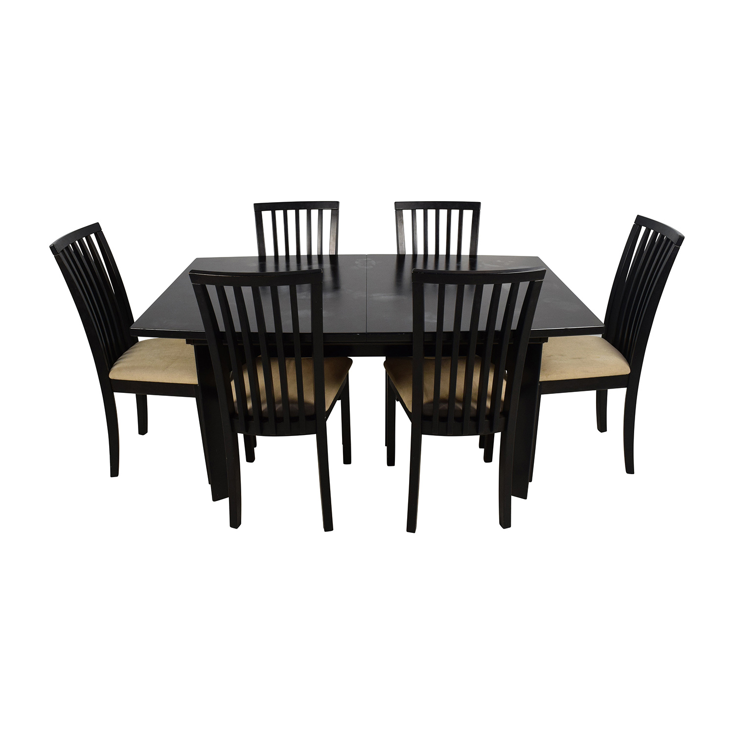 90 off skovby skovby sm 24 dining table with butterfly extensions and six chairs tables. Black Bedroom Furniture Sets. Home Design Ideas