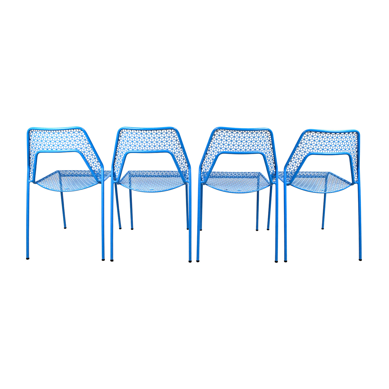 ... Blu Dot Blu Dot Hot Mess Chipper Blue Steel Mesh Chairs