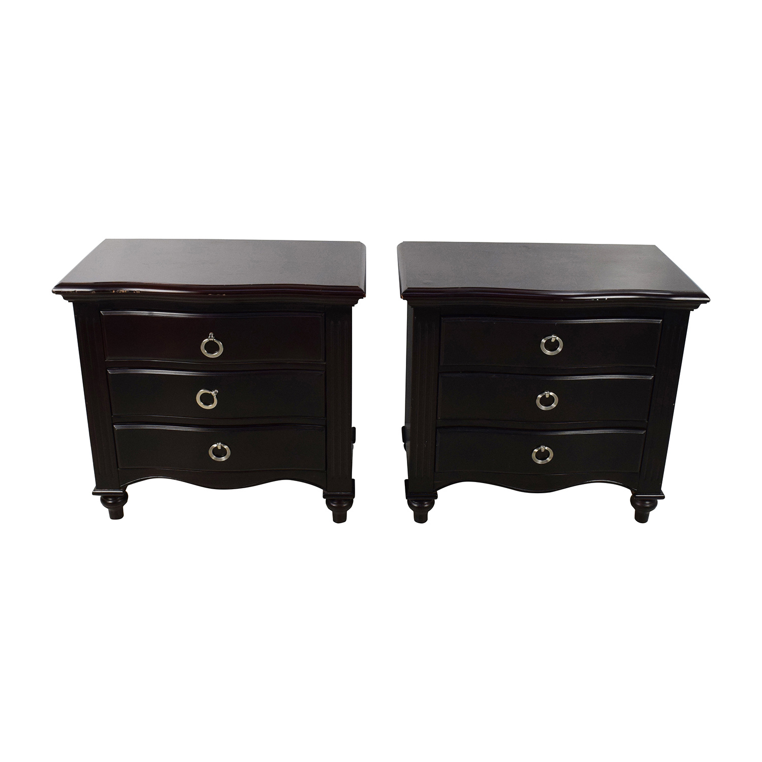 Set of Two Brown Wood Night Tables nyc