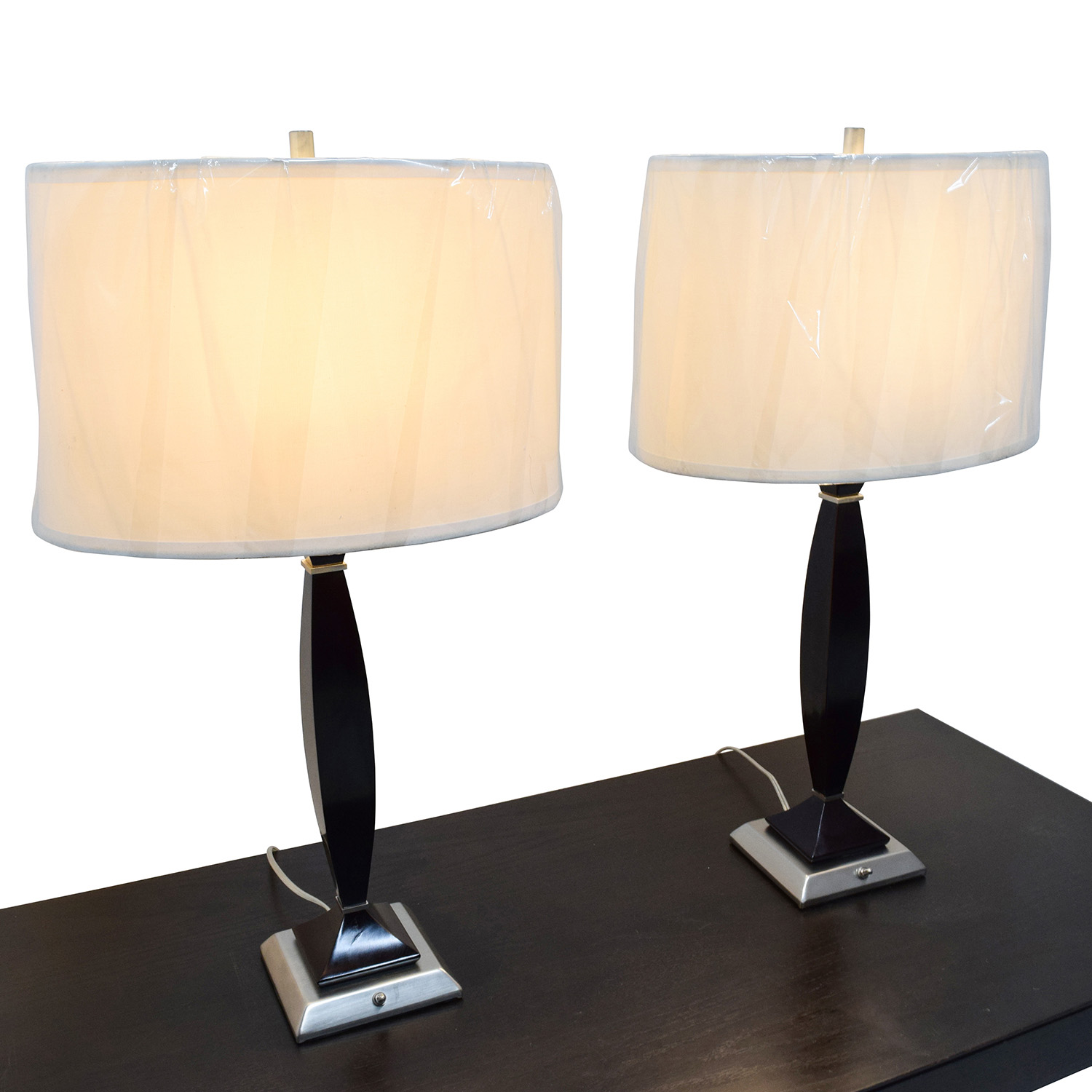 Brown and Silver Chrome Base Table Lamps discount