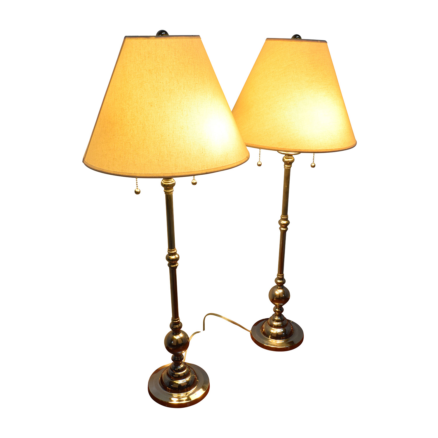 buy Two Silver Table Dresser Lamps