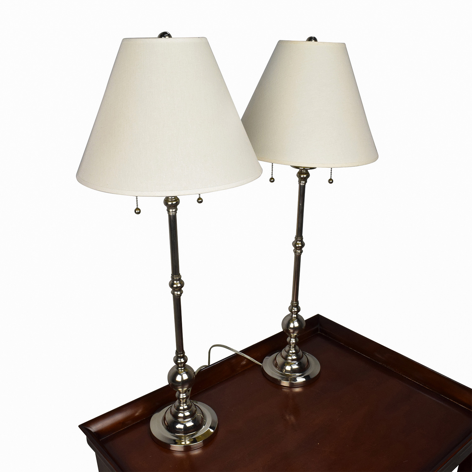 Two Silver Table Dresser Lamps Decor