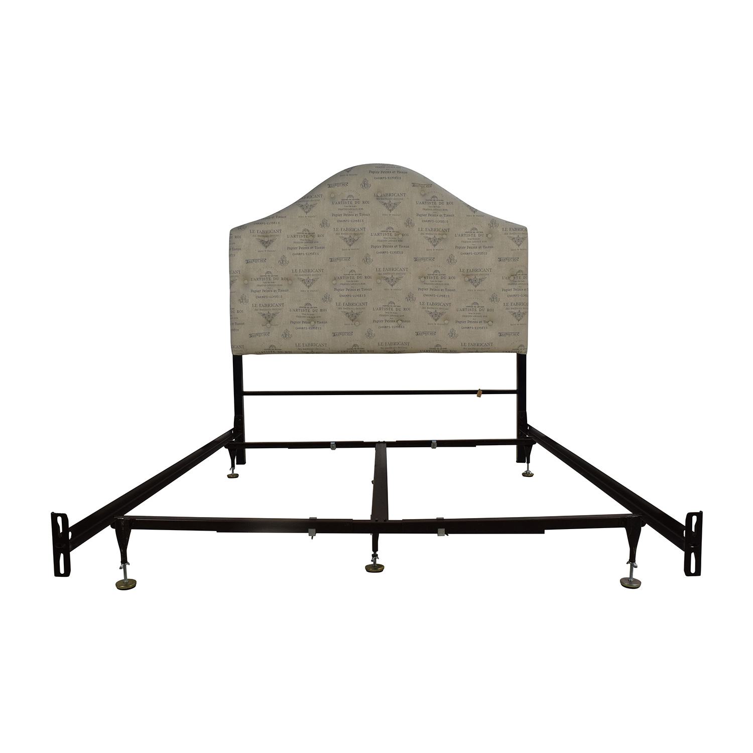 Astounding 56 Off Pier 1 Pier 1 Queen French Script Beige Upholstered Headboard And Frame Beds Ibusinesslaw Wood Chair Design Ideas Ibusinesslaworg