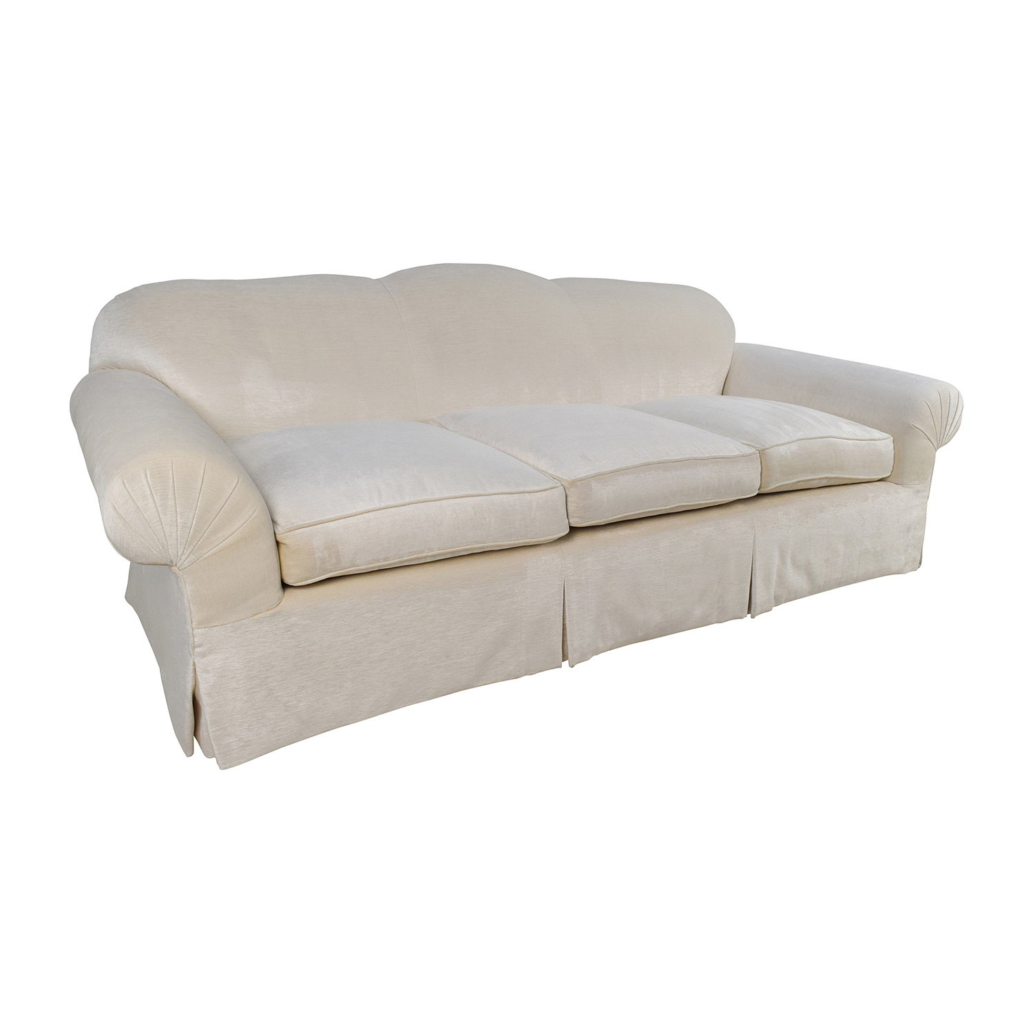 ... Beige 3 Seater Skirted Sofa With Kravet Fabric For Sale ...