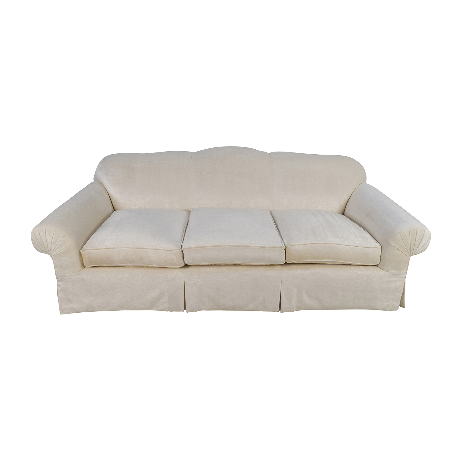 Beige 3 Seater Skirted Sofa with Kravet Fabric
