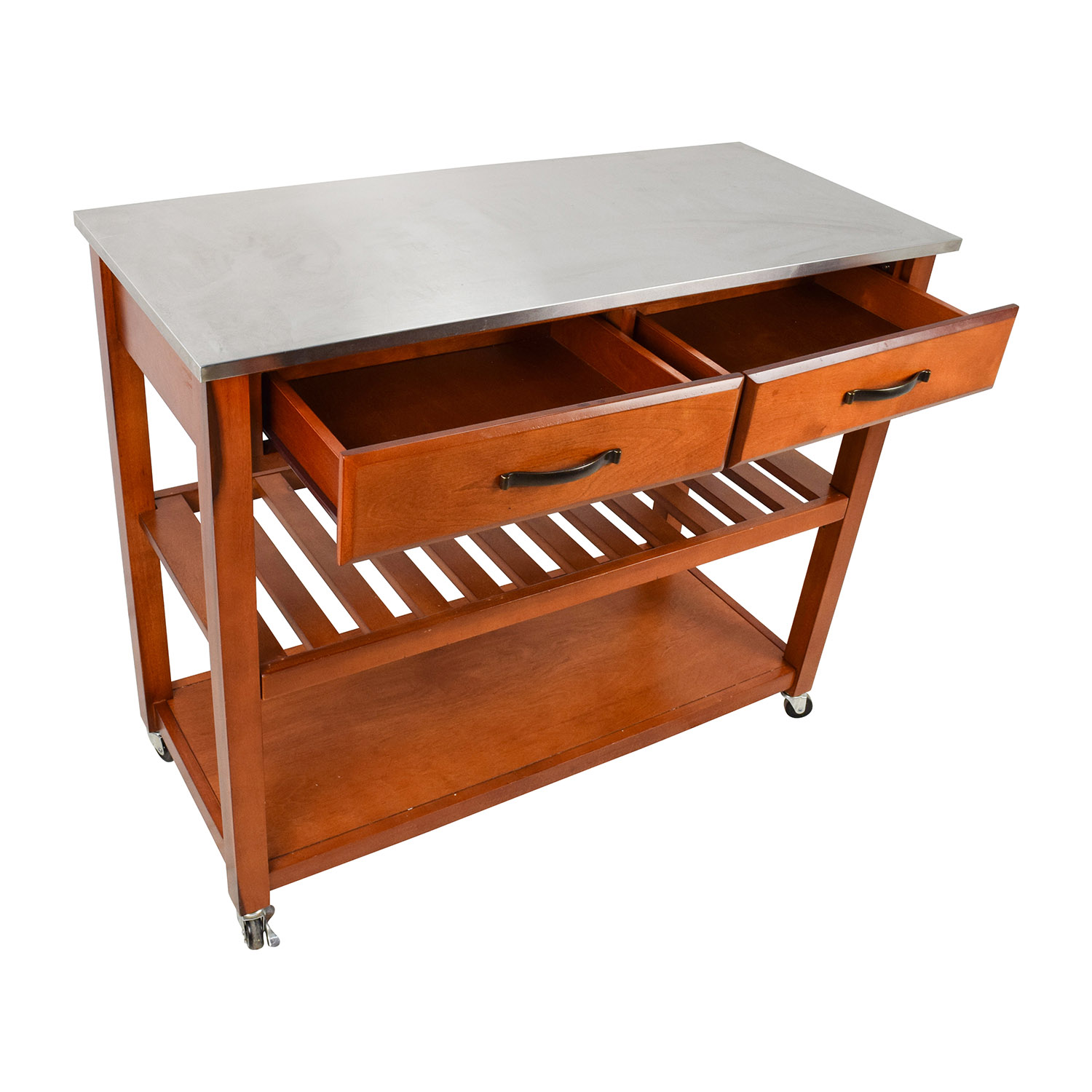 46 off crosley crosley natural wood top kitchen cart for Wood top kitchen table