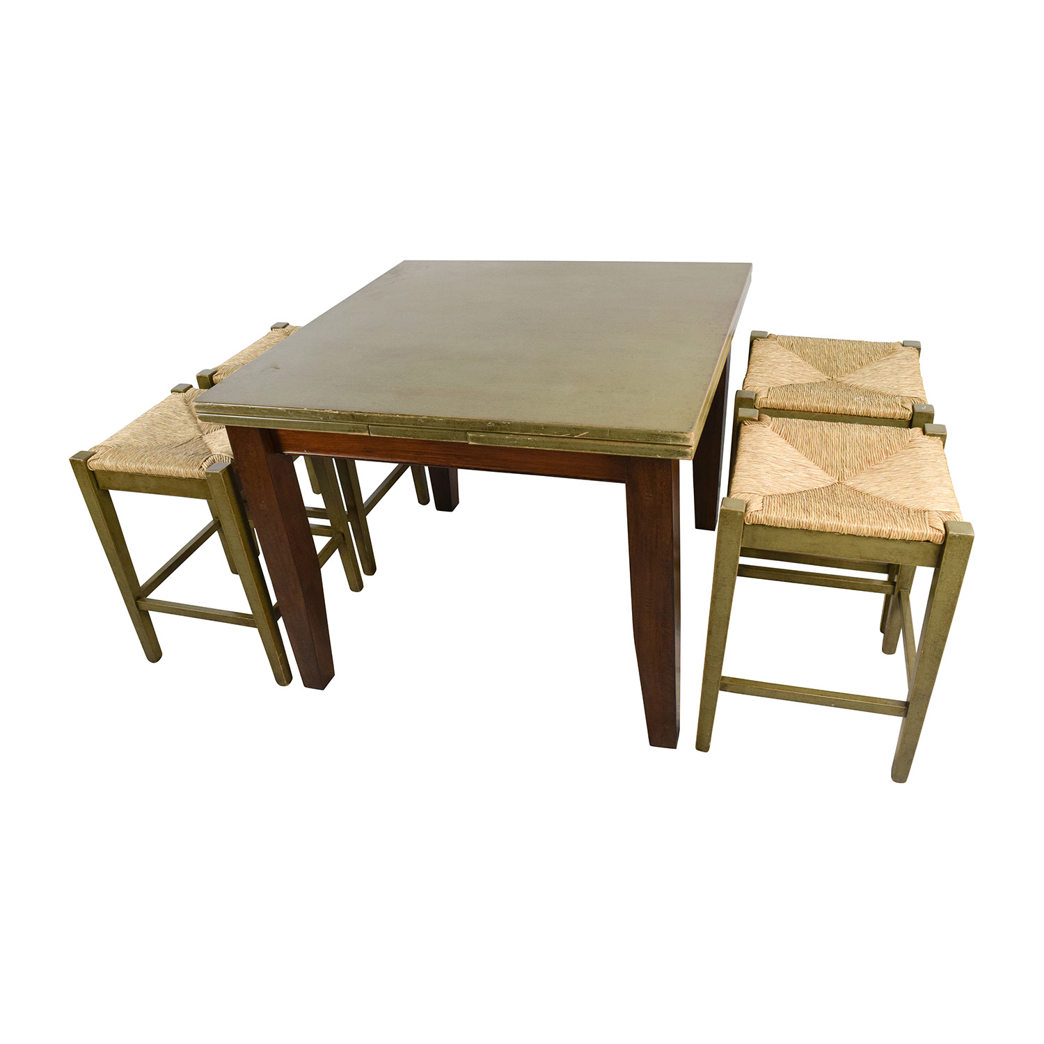 shop Rustic Extendable Table and Four Wicker Stools Unkown