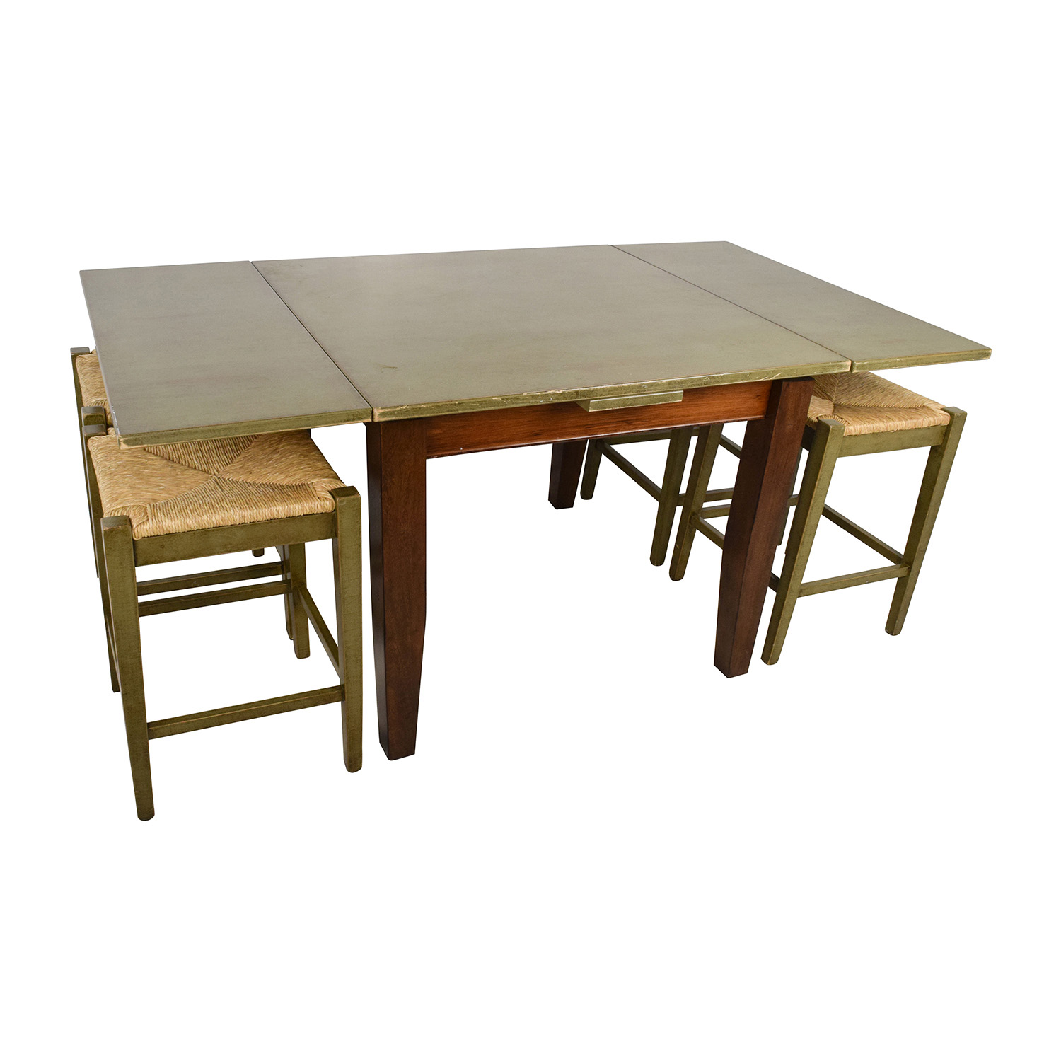 74% OFF Unkown Rustic Extendable Table and Four Wicker Stools