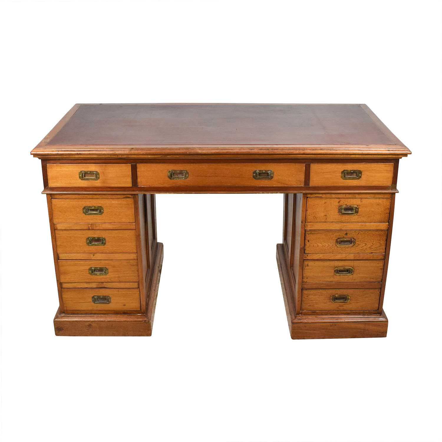 Eron Johnson Antiques English Colonial Teak Pedestal Desk sale