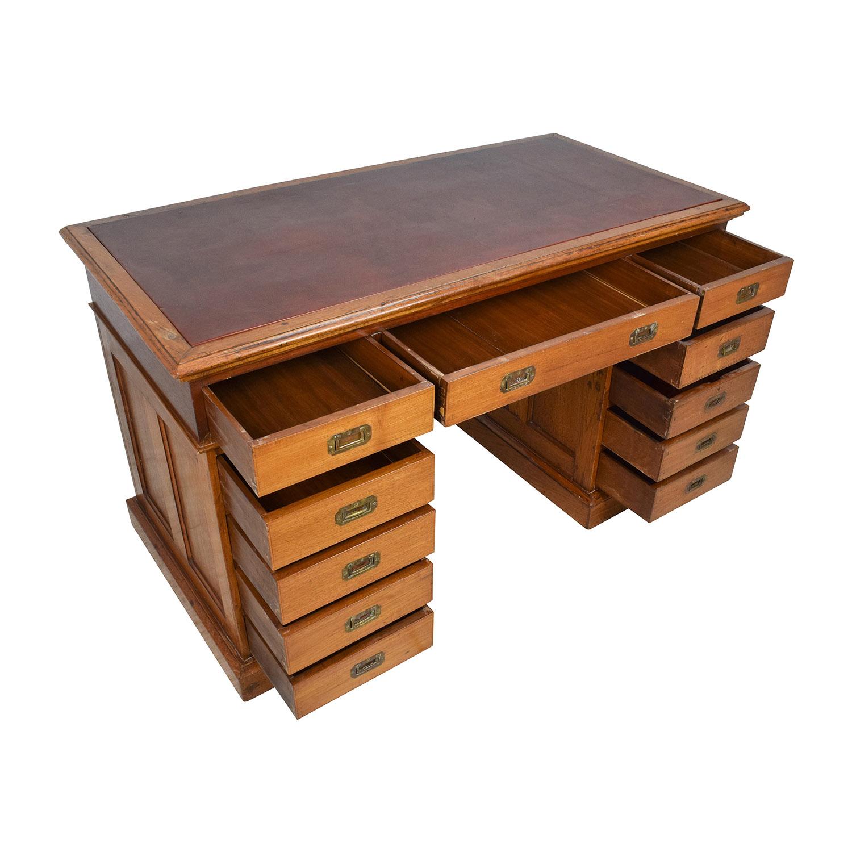 shop Eron Johnson Antiques English Colonial Teak Pedestal Desk Eron Johnson Antiques Home Office Desks