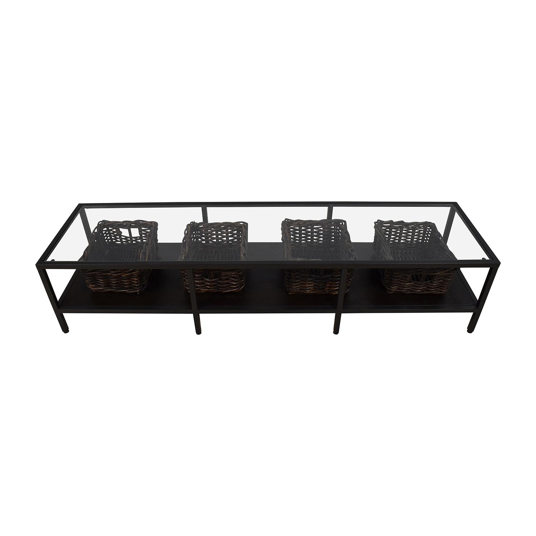 IKEA IKEA Modern Low Glass TV Stand with Wicker Storage Bins on sale