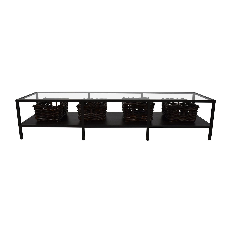 huge discount 08756 a82d6 80% OFF - IKEA IKEA Modern Low Glass TV Stand with Wicker Storage Bins /  Storage