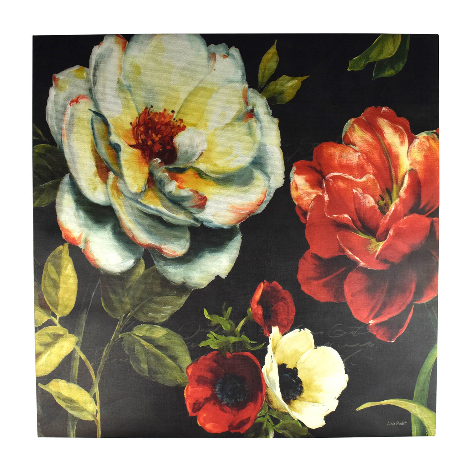 Floral Red and White Painting Home Goods