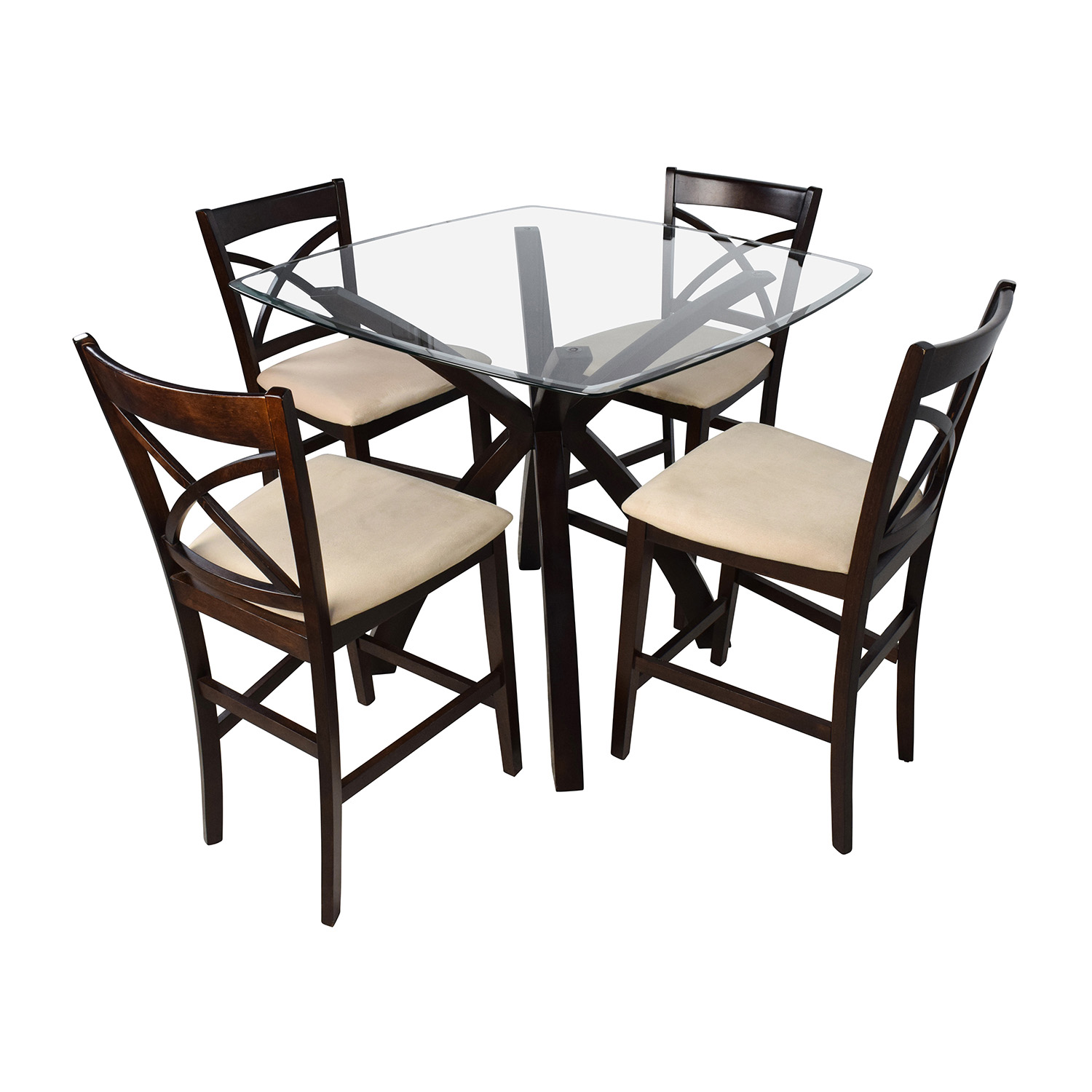 53 off counter height glass and wood table with four for Glass dining table and chairs