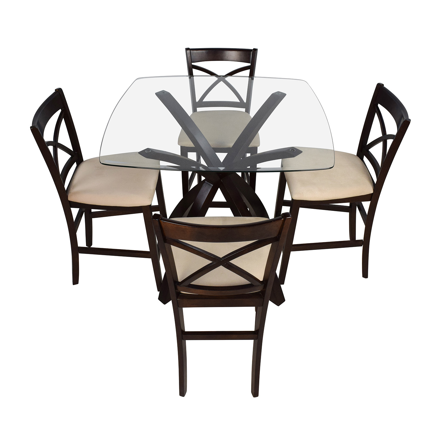 53 off counter height glass and wood table with four chairs tables