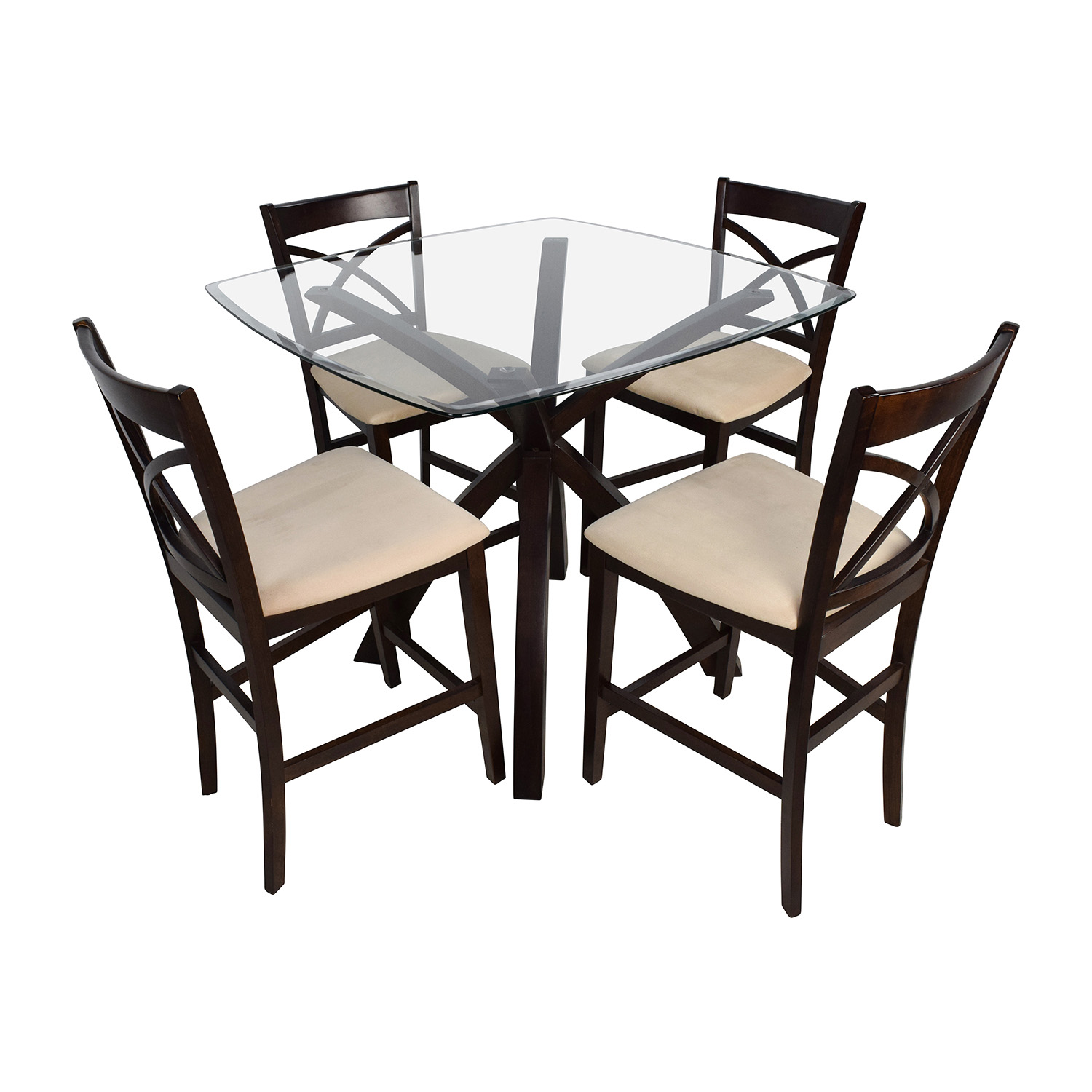 Counter Height Glass and Wood Table with Four Chairs on sale