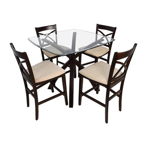 Counter Height Glass and Wood Table with Four Chairs discount