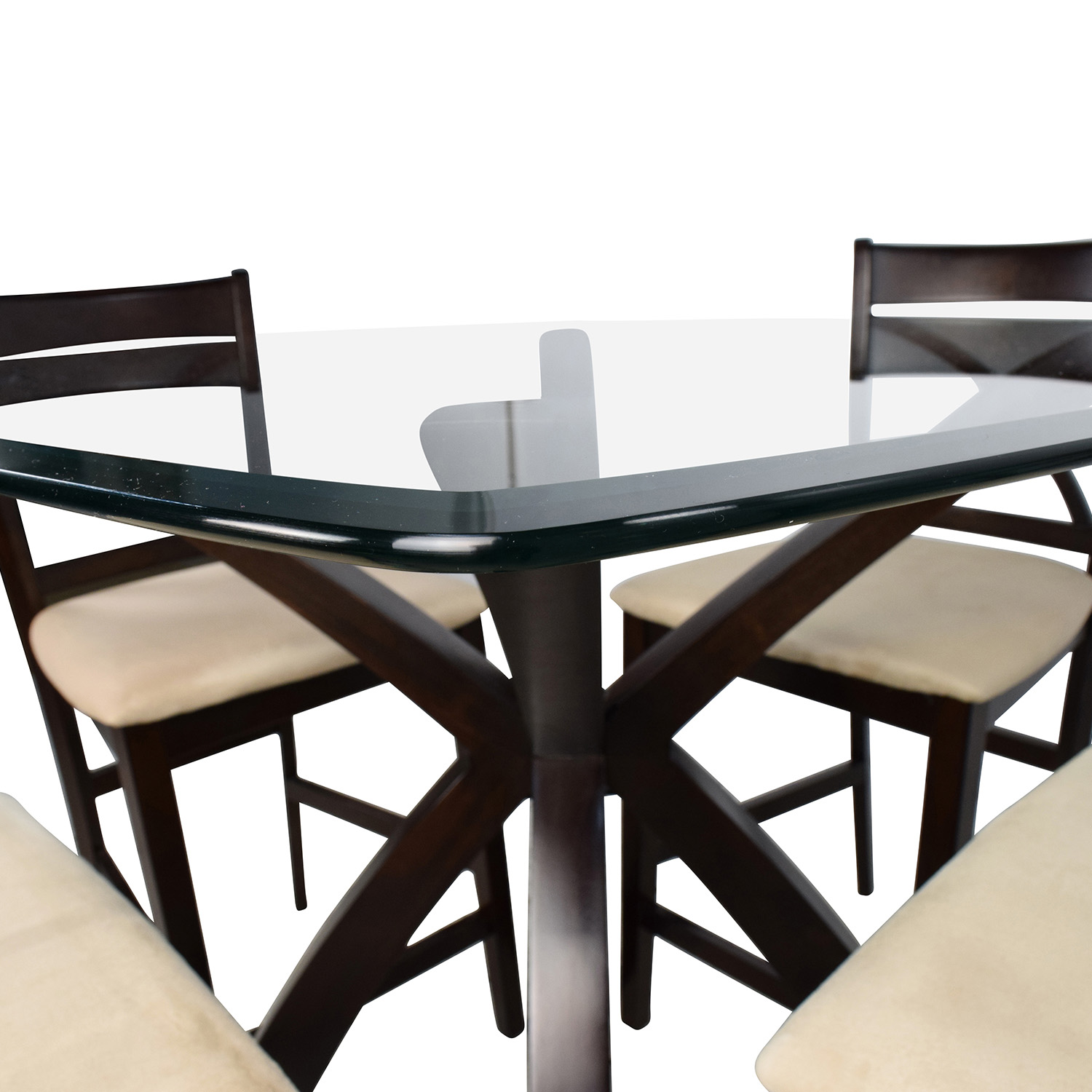 53 Off Counter Height Glass And Wood Table With Four