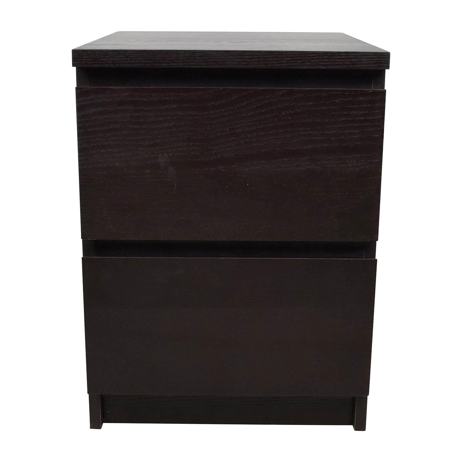 Ikea Malm Black Two Drawer Nightstand