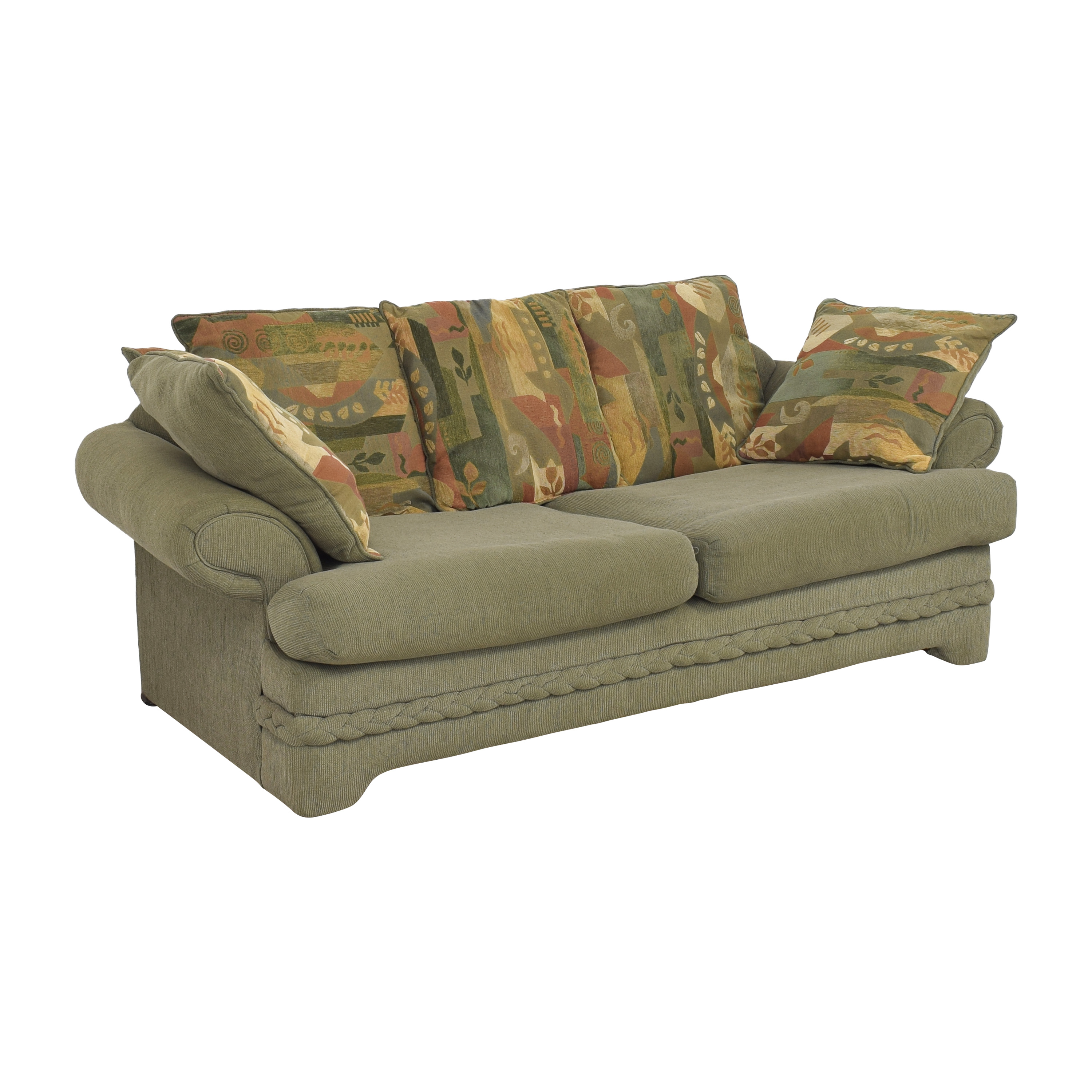 Two Cushion Sofa with Pillows for sale
