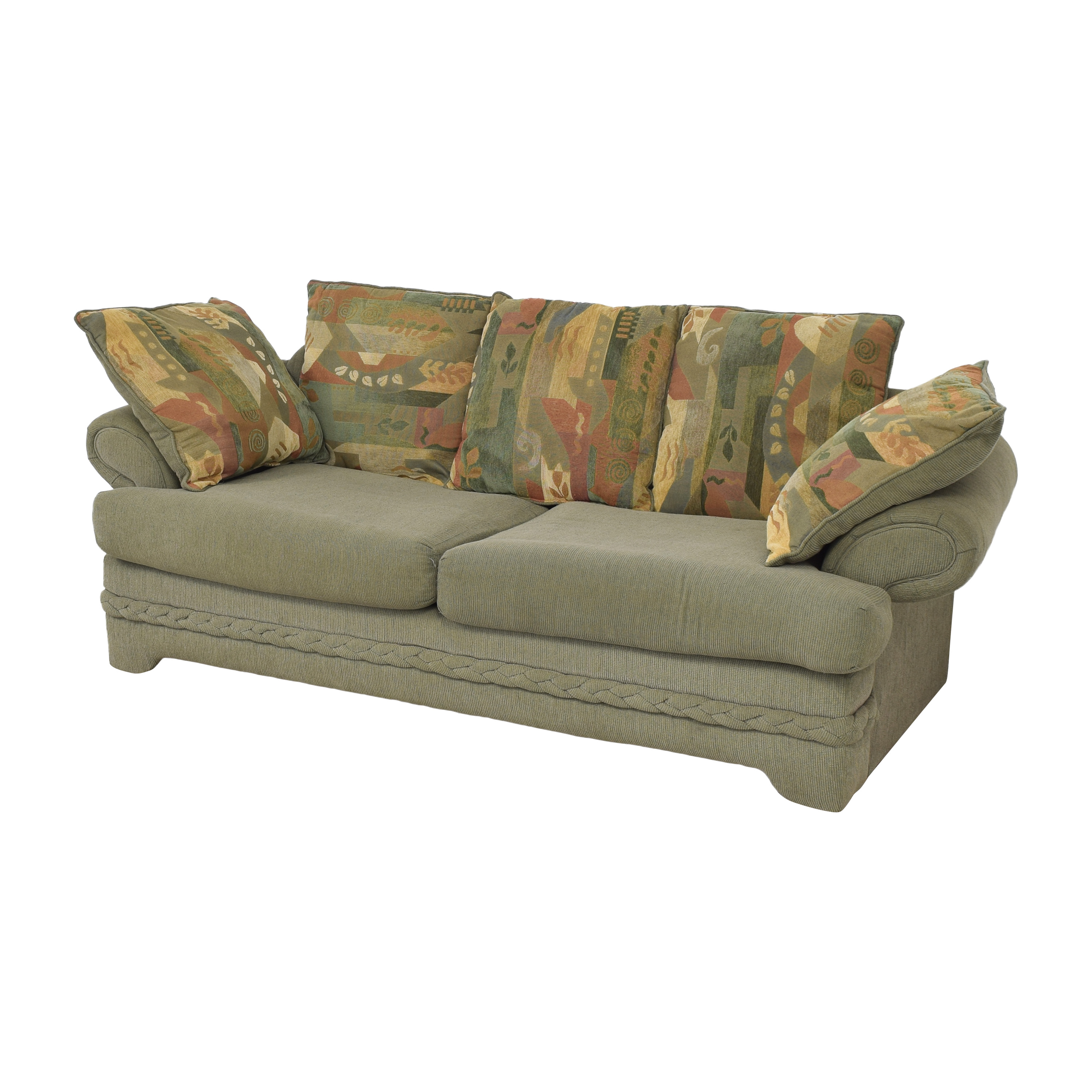 Two Cushion Sofa with Pillows used