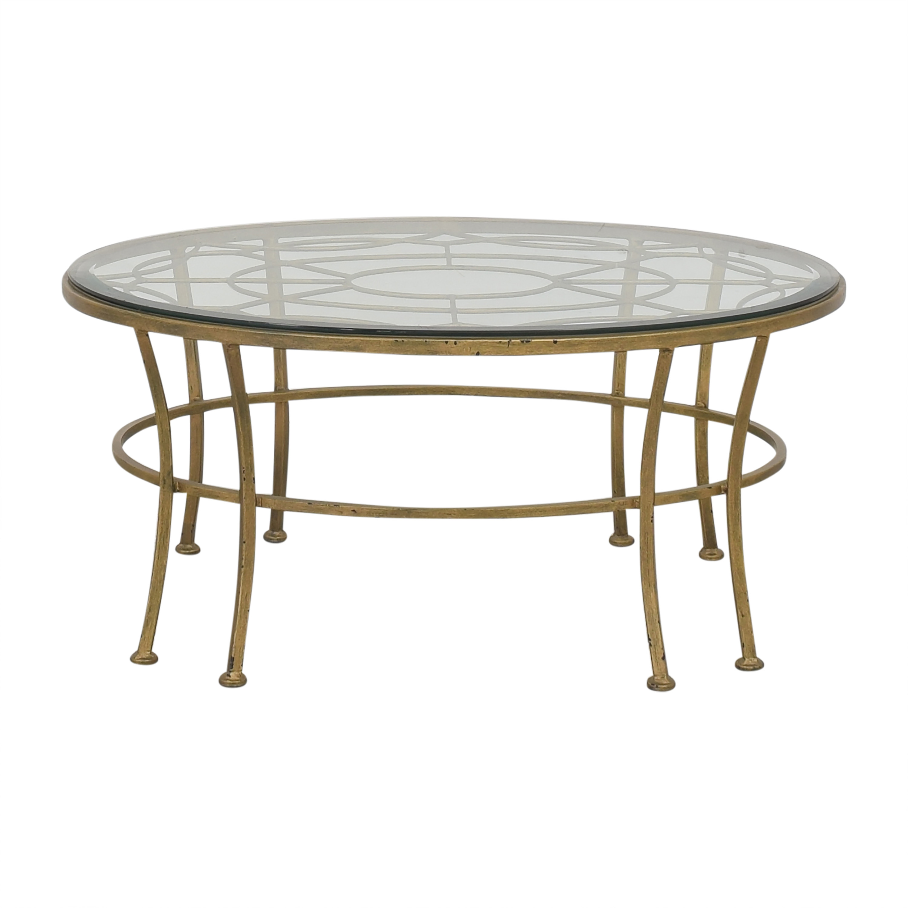 Round Coffee Table with Transparent Surface Tables