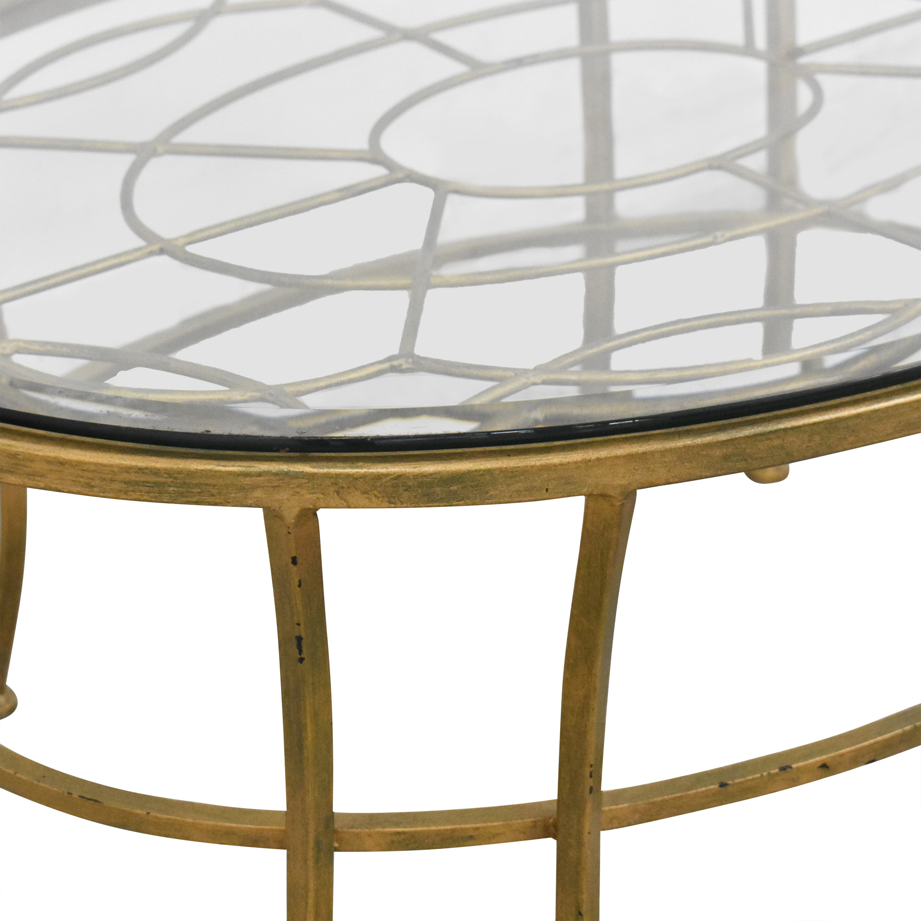Round Coffee Table with Transparent Surface nyc