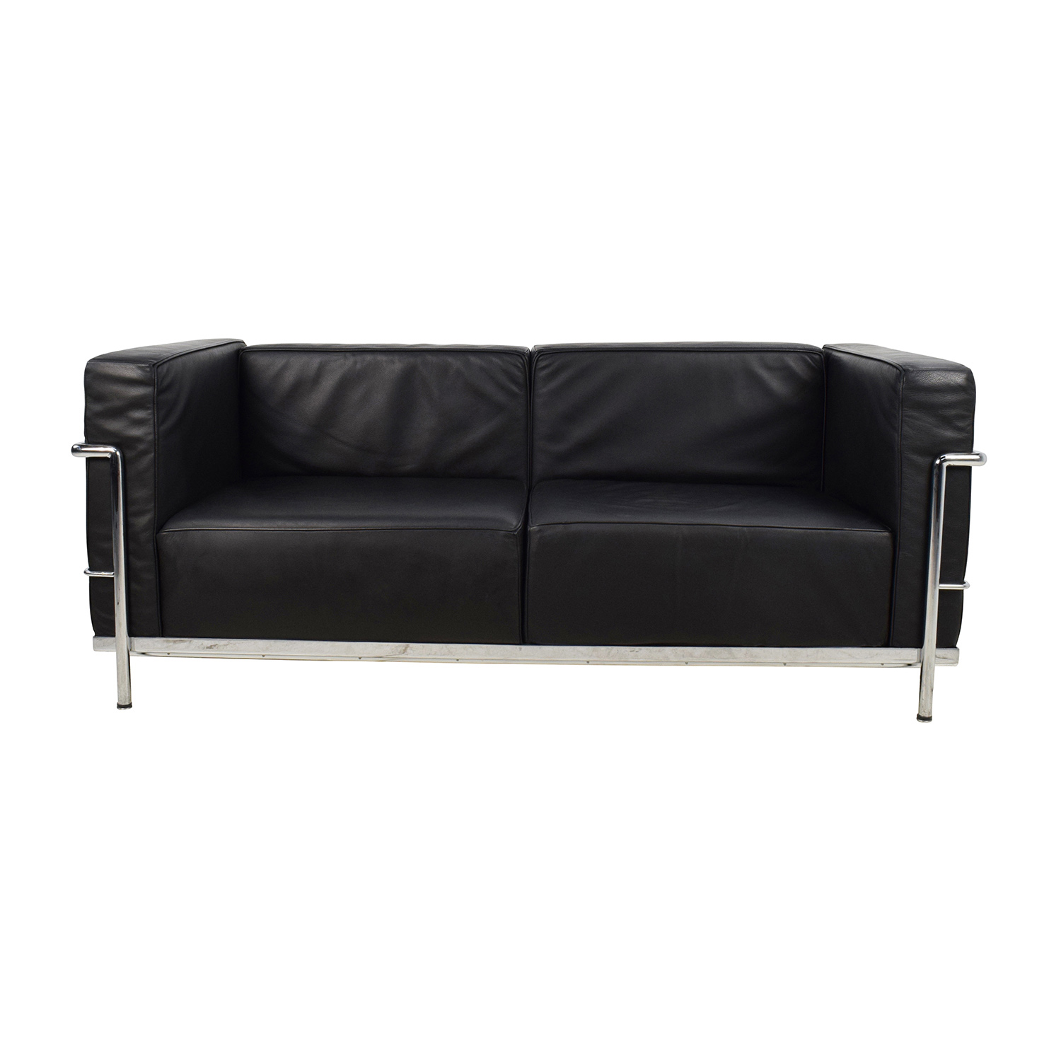 Design Within Reach Design Within Reach LC3 Grande Modele Two Seat Black Leather Sofa second hand