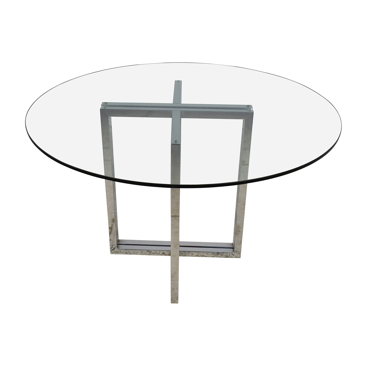 shop CB2 Silverado Chrome Round Dining Table CB2 Tables