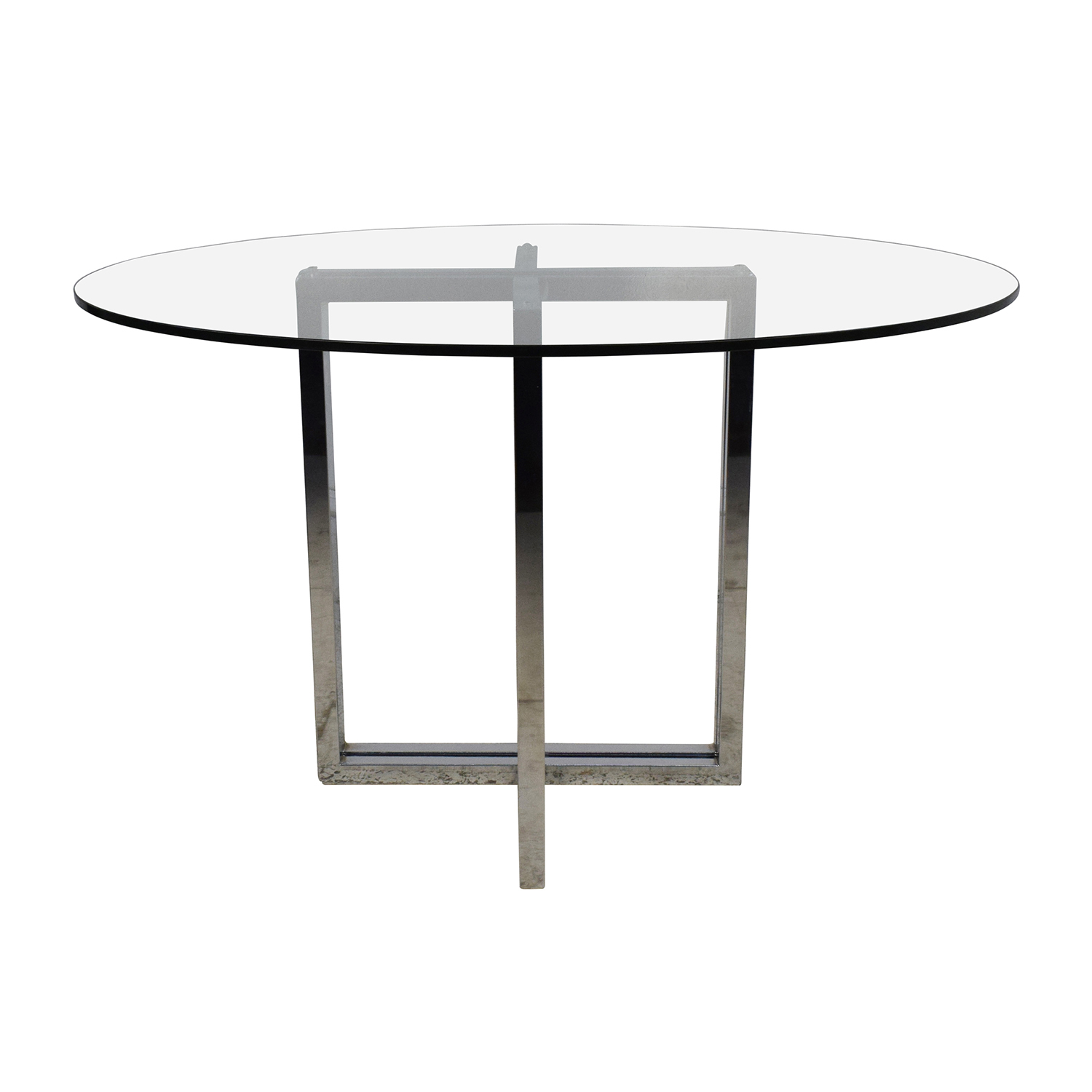 CB2 CB2 Silverado Chrome Round Dining Table second hand